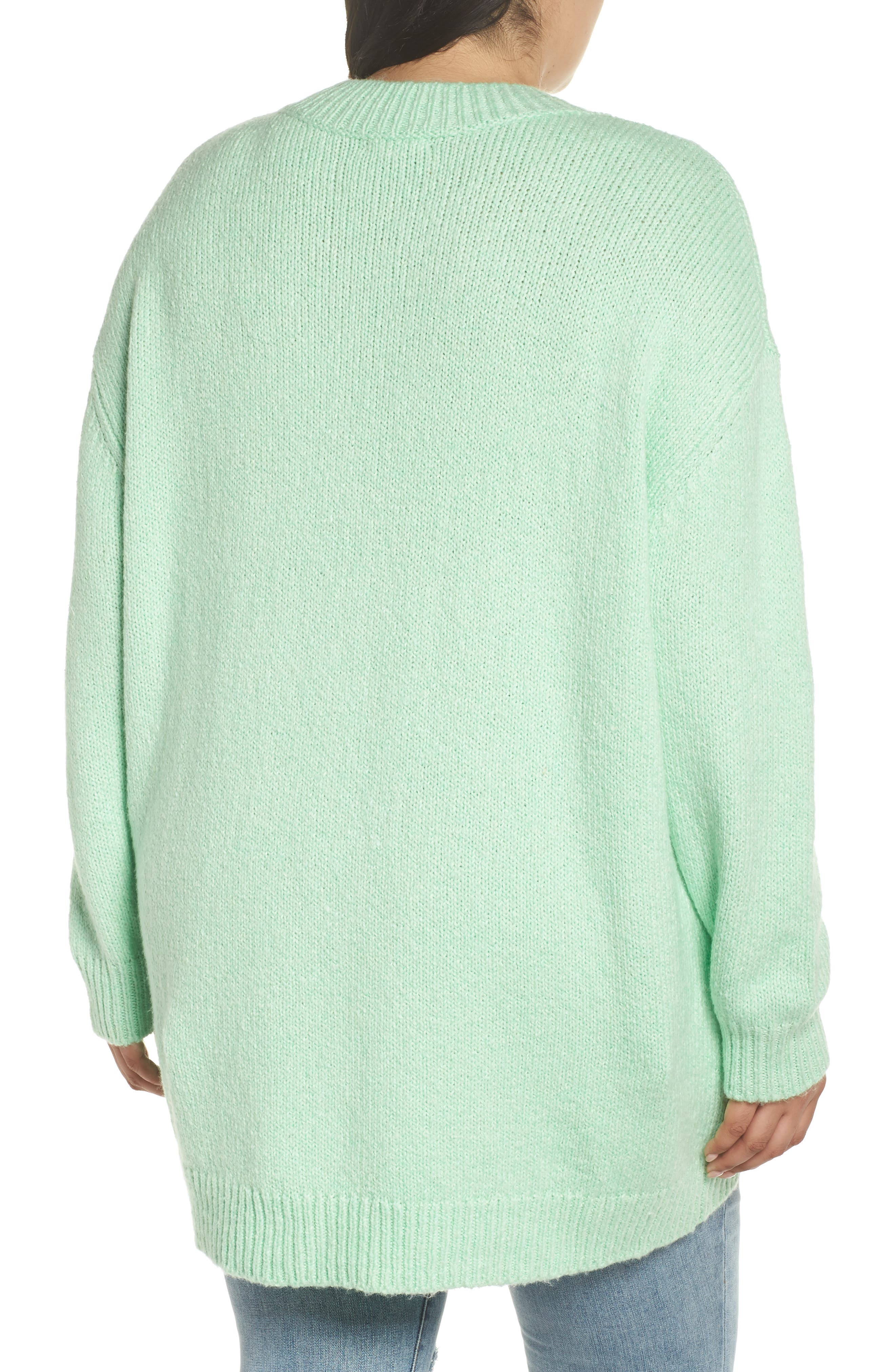 High-Low Sweater,                             Alternate thumbnail 8, color,                             GREEN ASH
