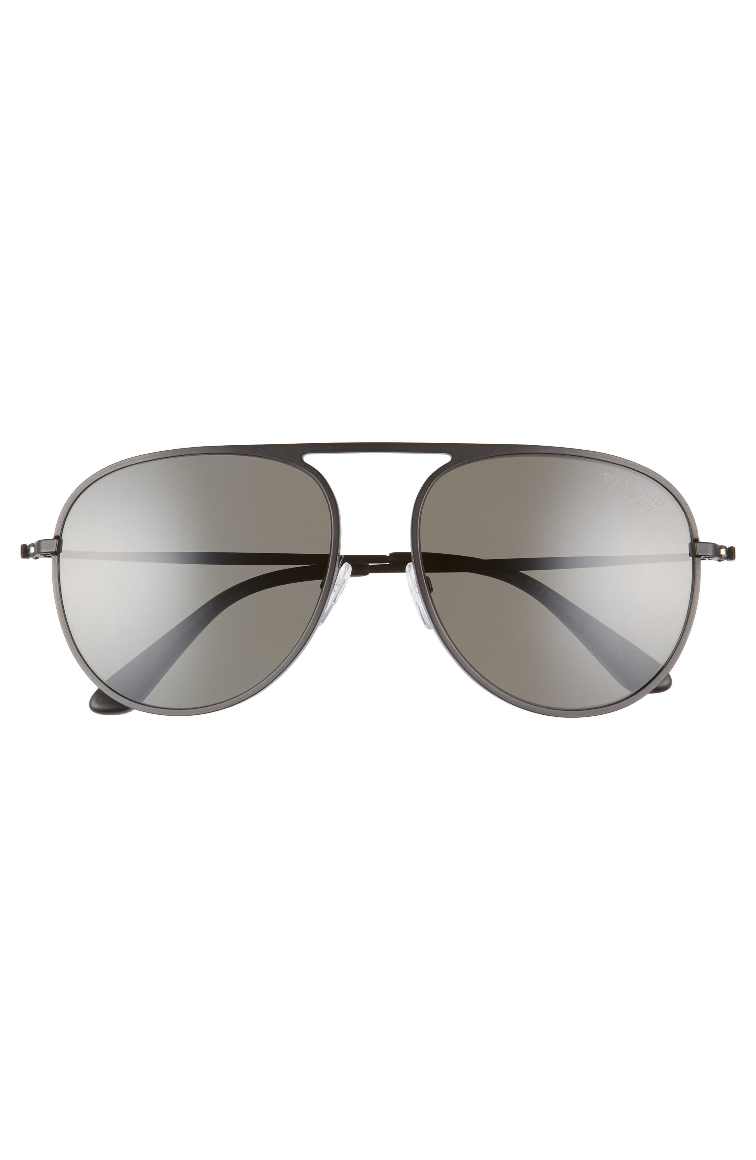 59mm Aviator Sunglasses,                             Alternate thumbnail 3, color,                             BLACK MATTE FRAME/ BLACK