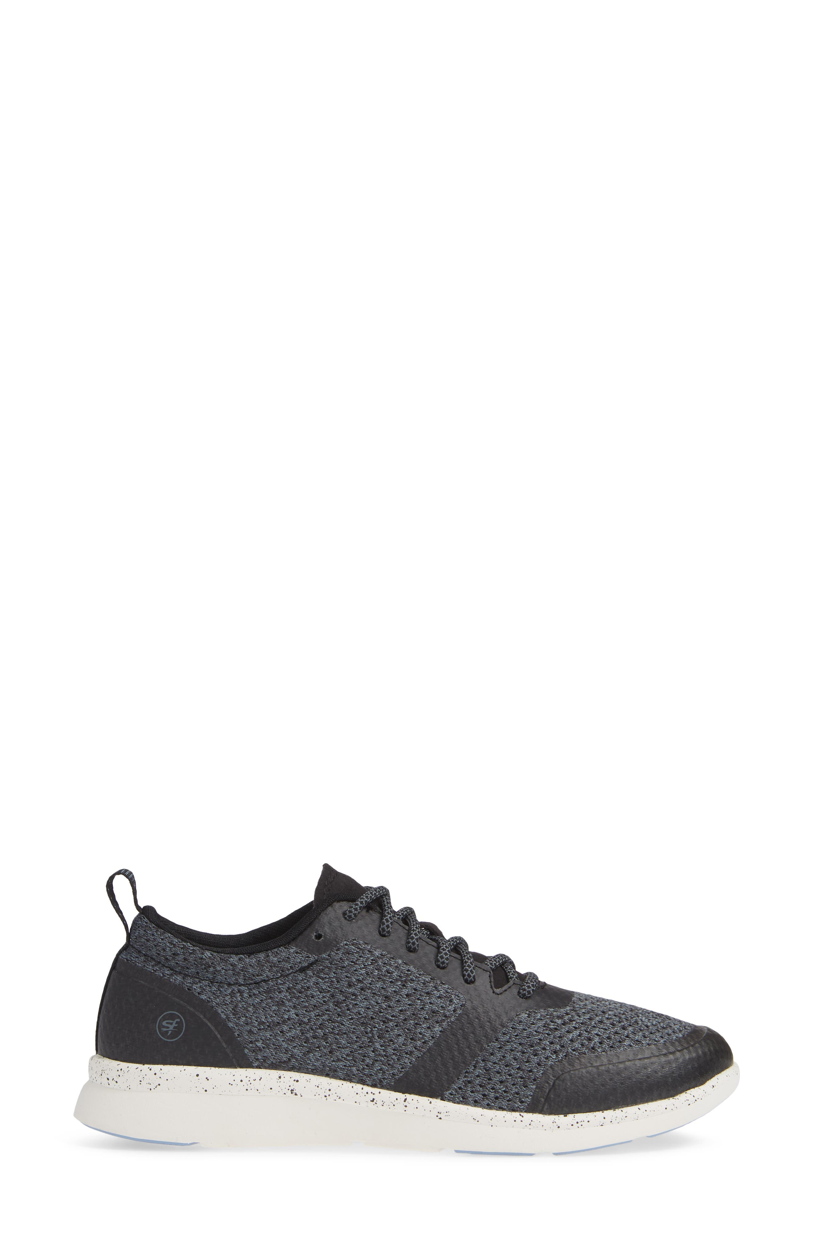Linden Sneaker,                             Alternate thumbnail 3, color,                             BLACK FABRIC