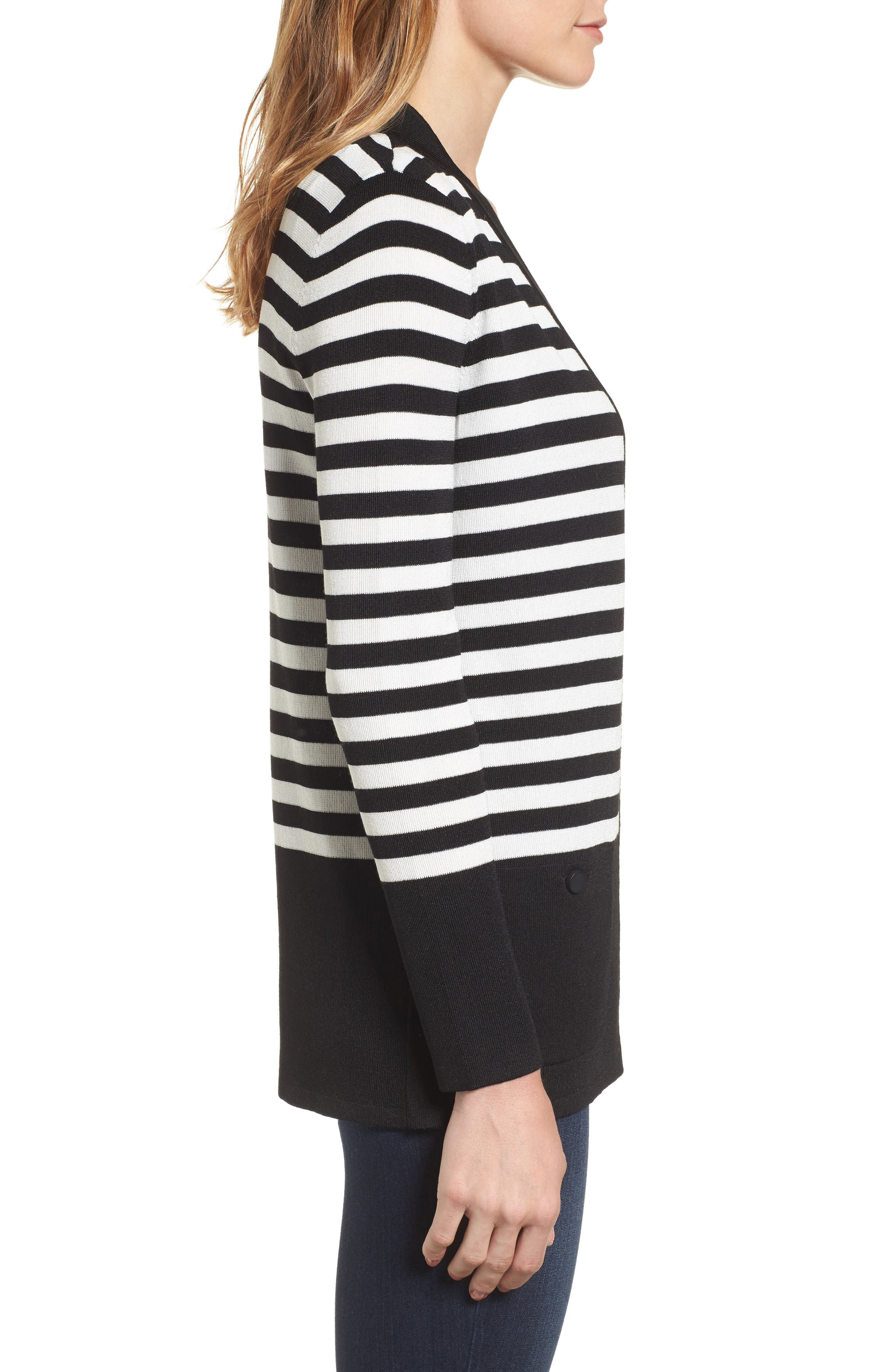 Patch Pocket Cardigan,                             Alternate thumbnail 3, color,                             BLACK/ WHITE