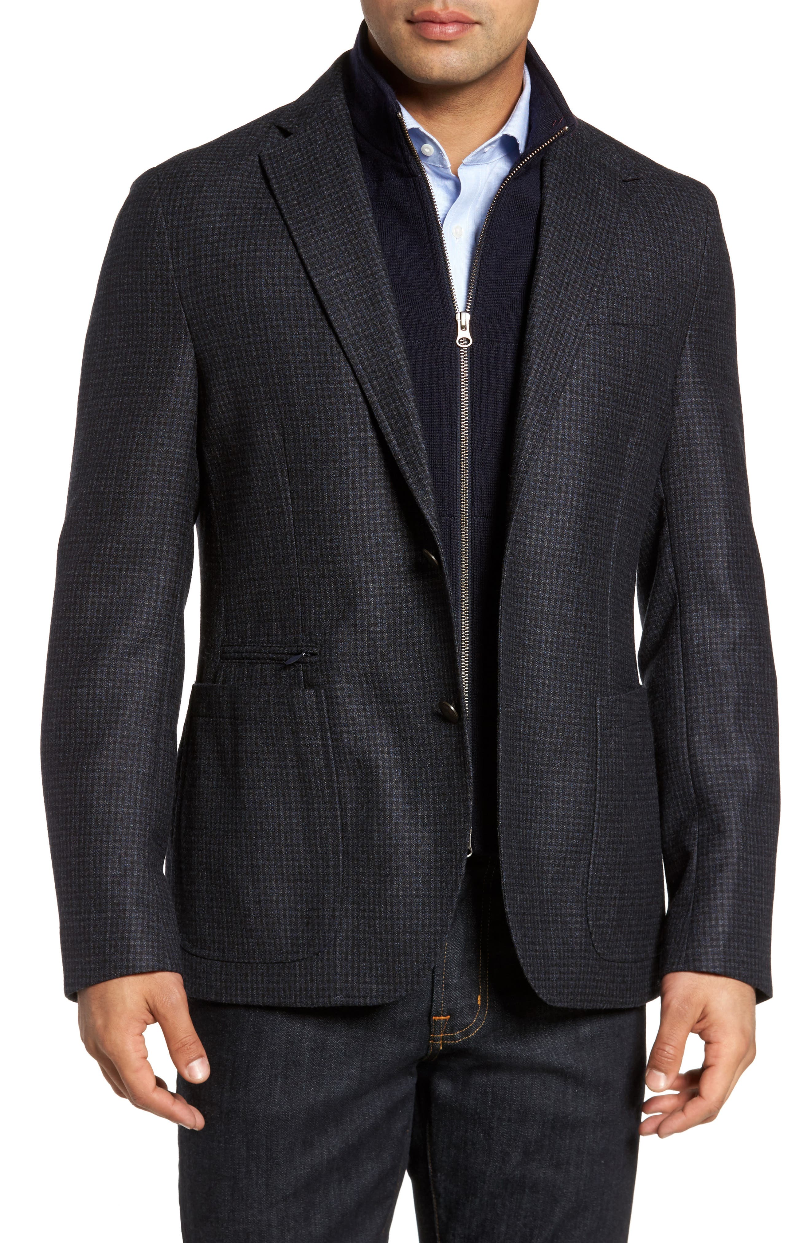 Jones Aim Hybrid Classic Fit Check Wool Sport Coat,                         Main,                         color,