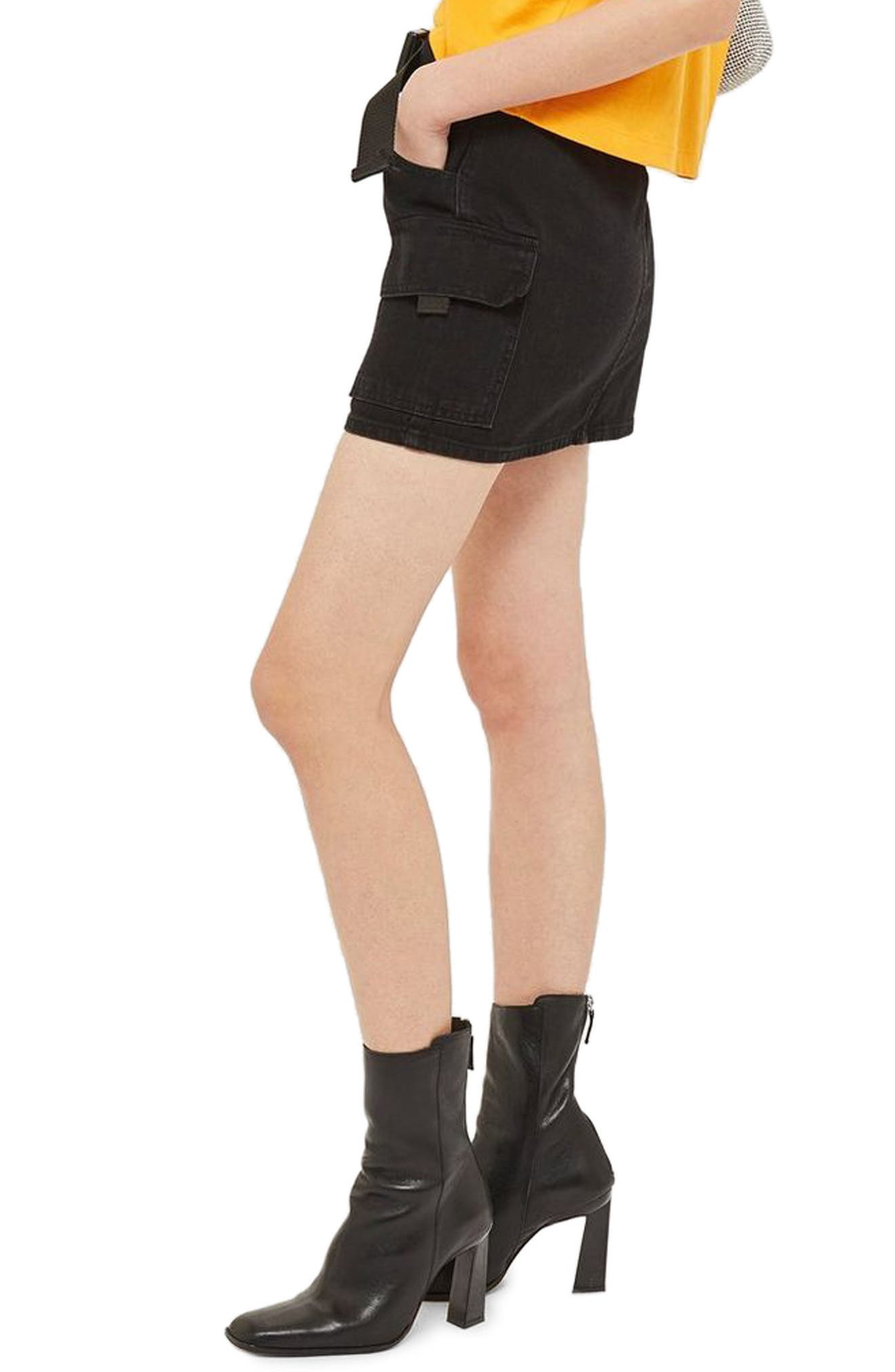 Clip Belt Skirt,                             Alternate thumbnail 3, color,                             BLACK
