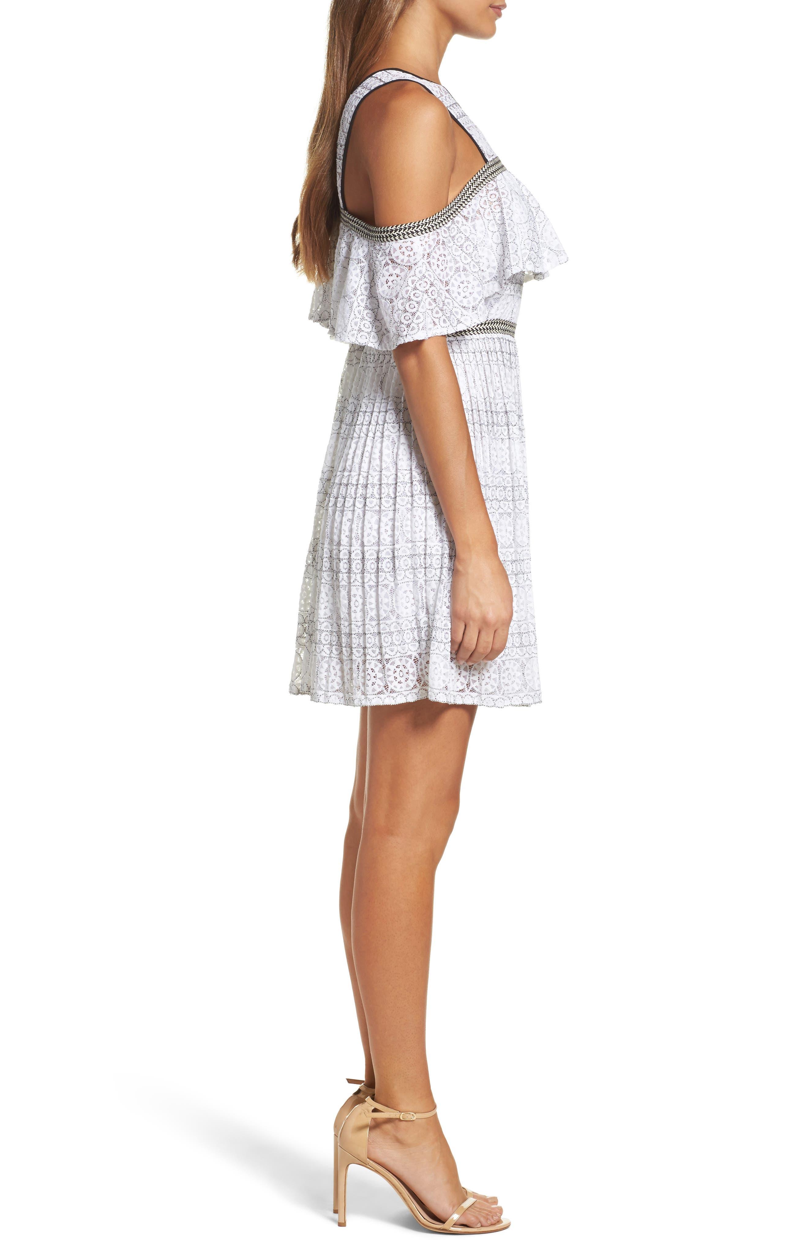 Belinda Lace Cold Shoulder Dress,                             Alternate thumbnail 3, color,