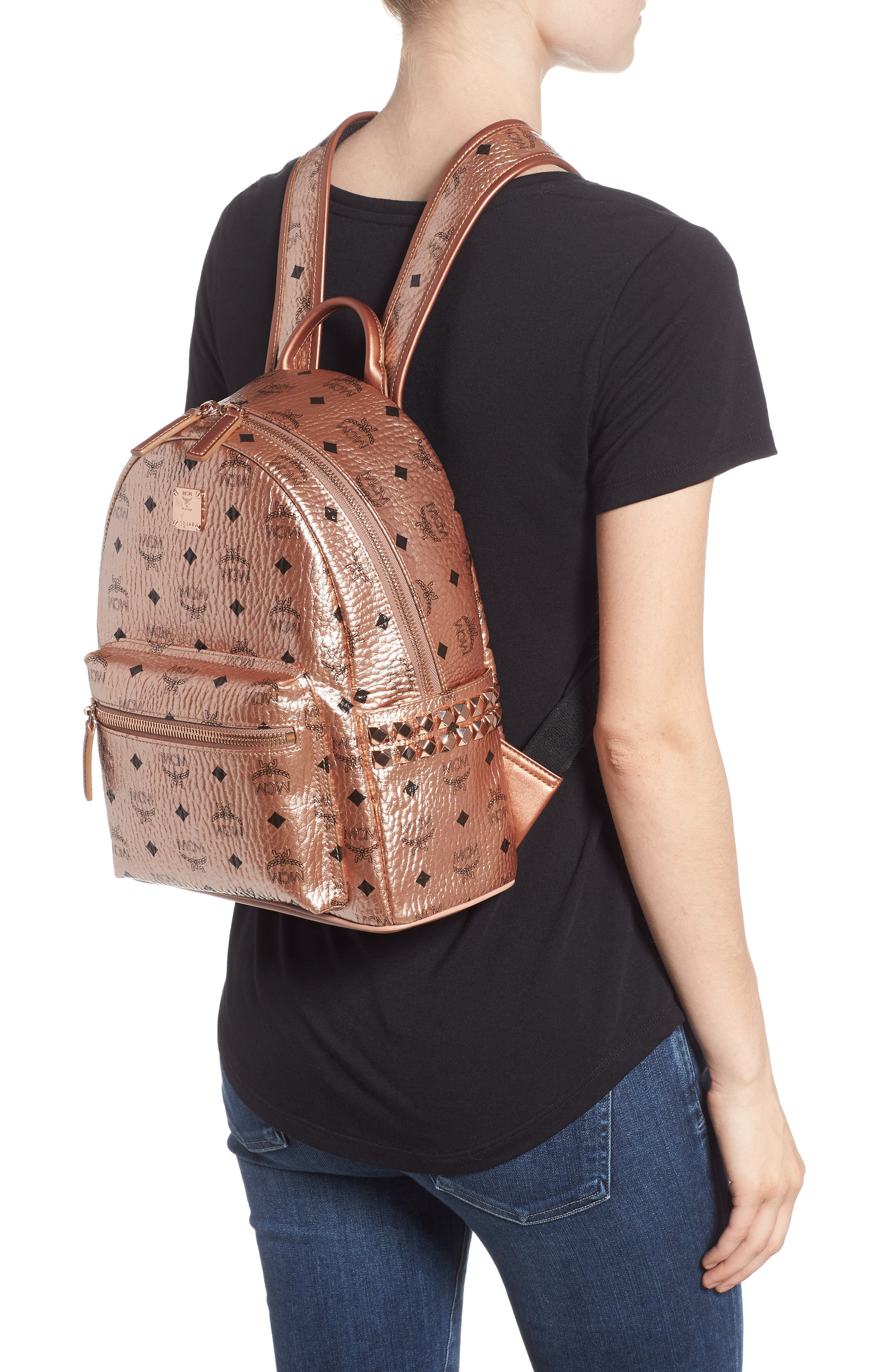 Small Stark Side Stud Coated Canvas Backpack,                             Alternate thumbnail 2, color,                             CHAMPAGNE GOLD