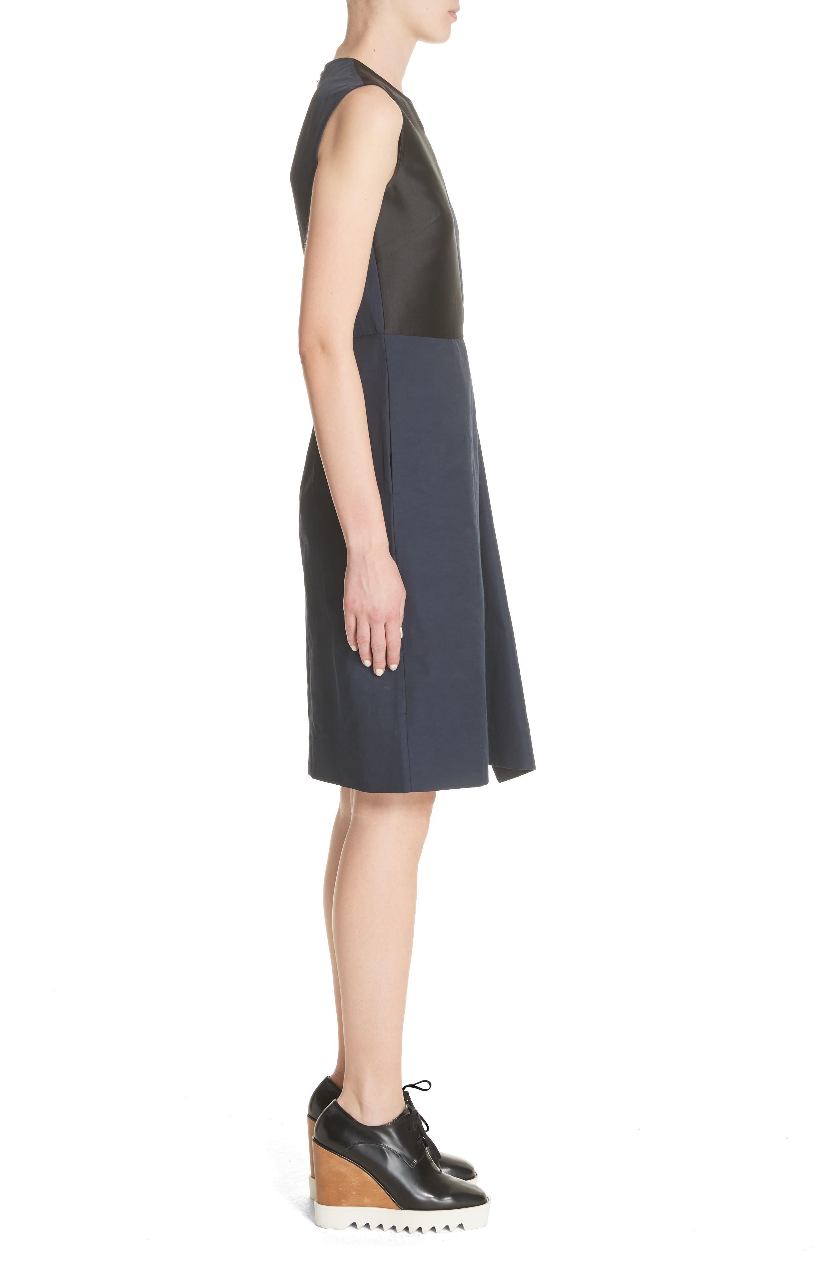 Patchwork A-Line Dress,                             Alternate thumbnail 3, color,                             001