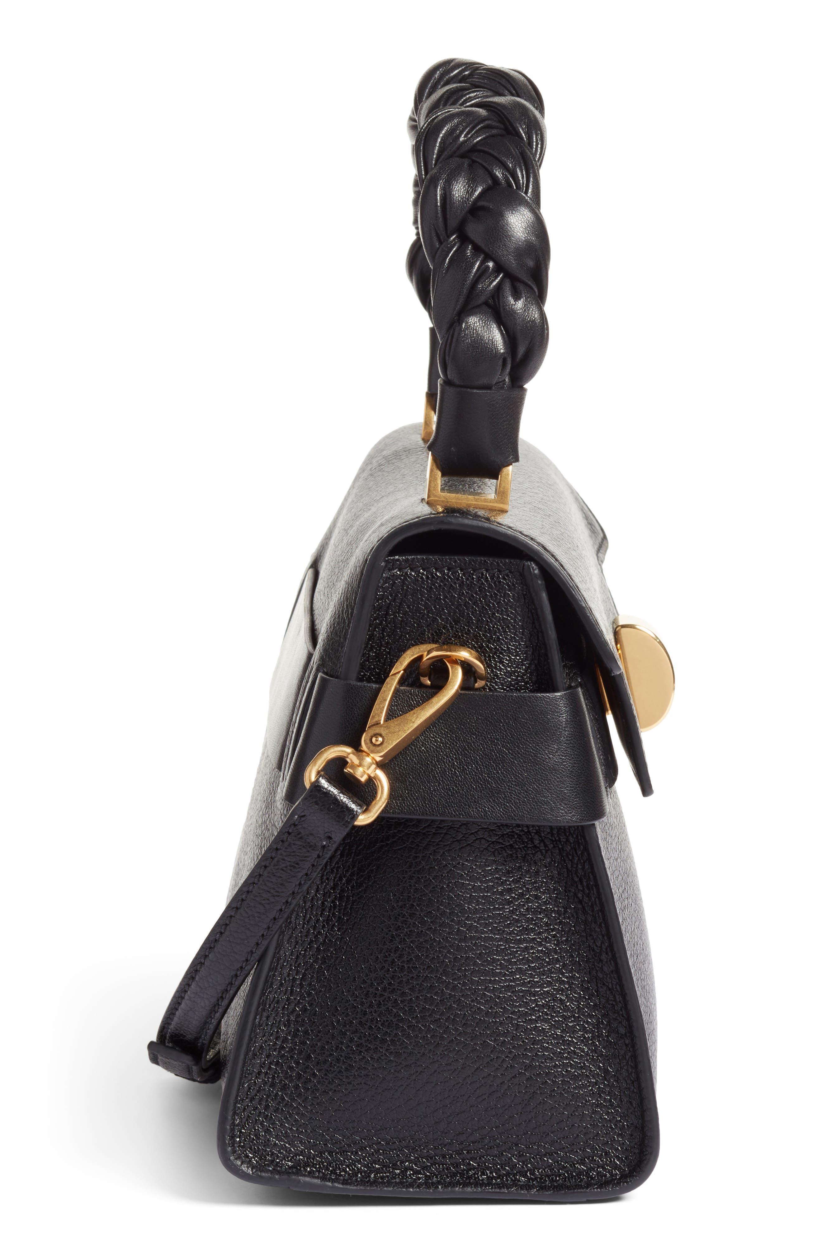 Madras Leather Top Handle Satchel,                             Alternate thumbnail 5, color,                             001