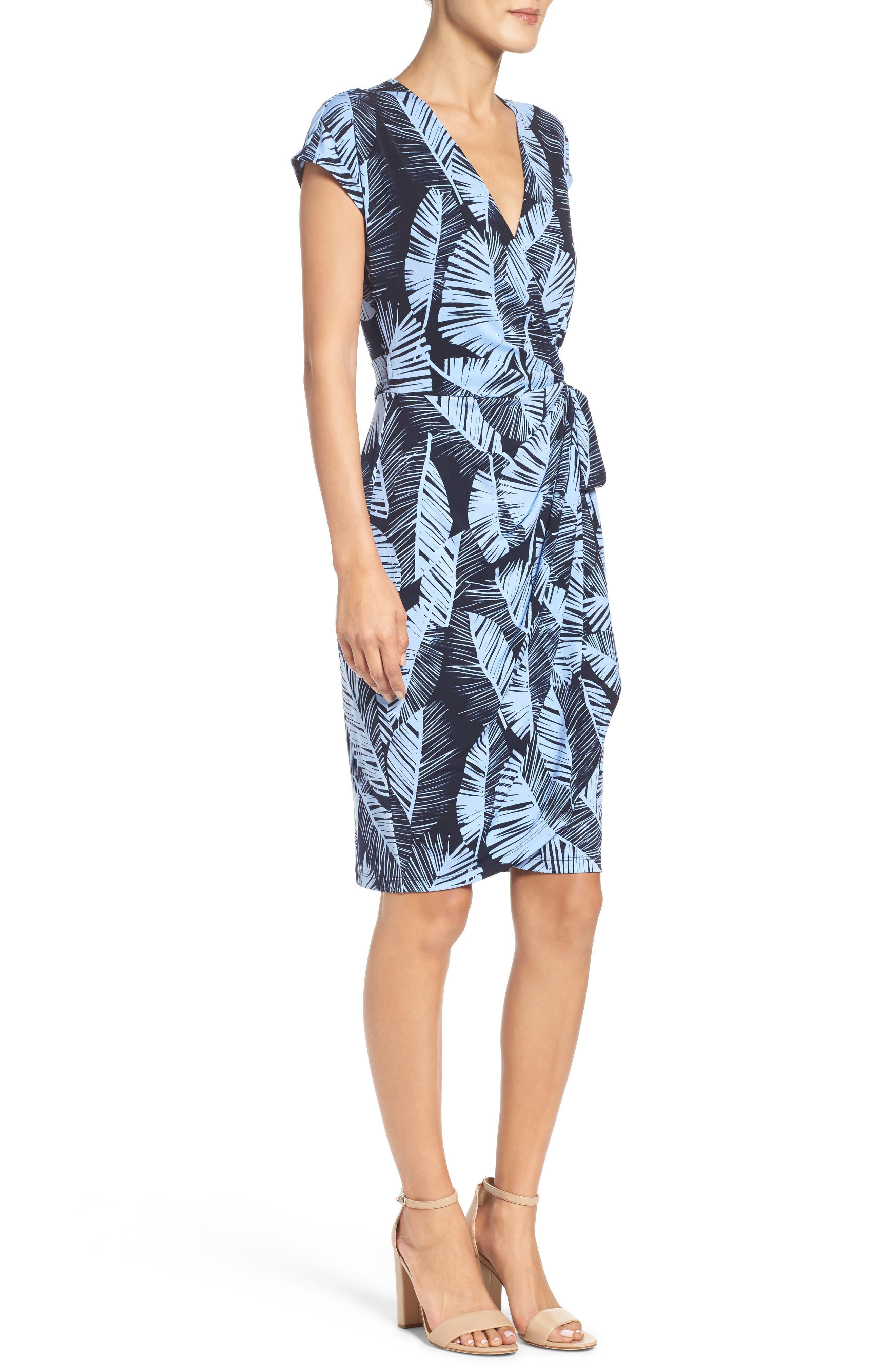 Palm Leaf Wrap Dress,                             Alternate thumbnail 3, color,                             420