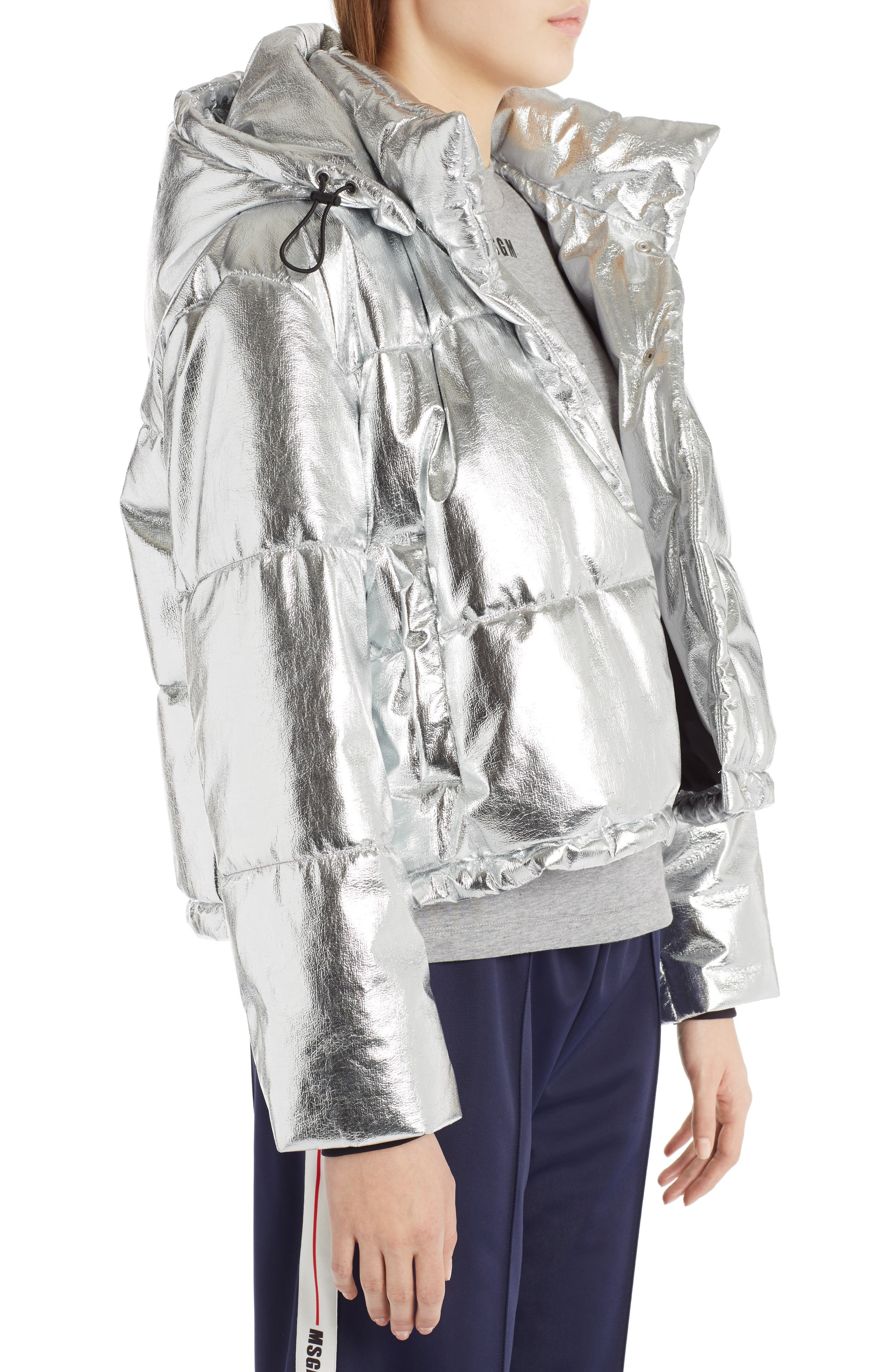 Metallic Quilted Bomber Jacket,                             Alternate thumbnail 4, color,                             040