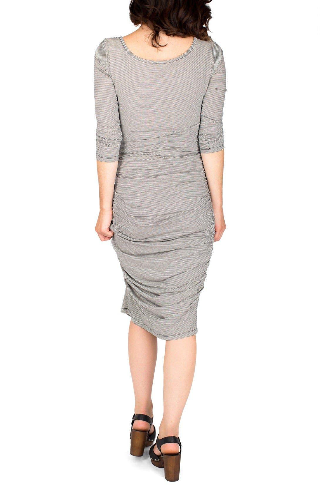 Nom Henley Maternity Dress,                             Alternate thumbnail 2, color,                             CHARCOAL MICROSTRIPE