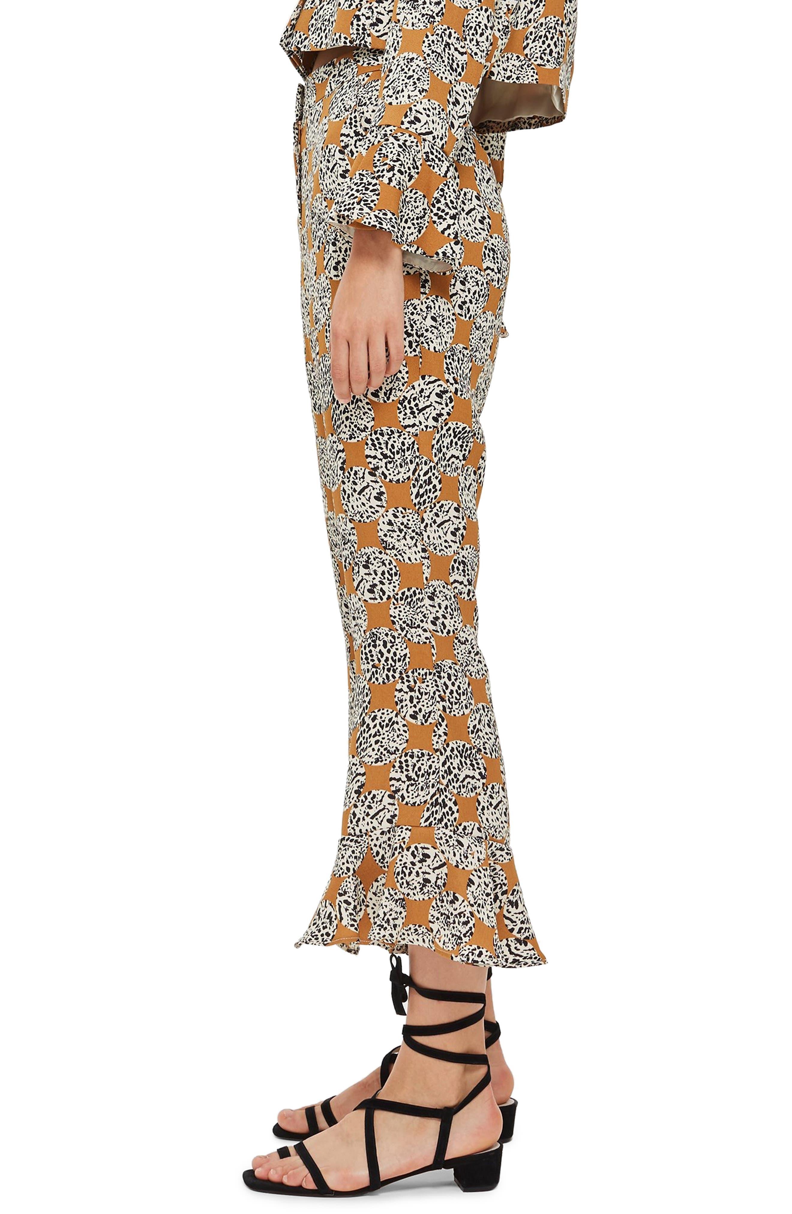 Leopard Spot Frill Trousers,                             Alternate thumbnail 3, color,                             TAN MULTI