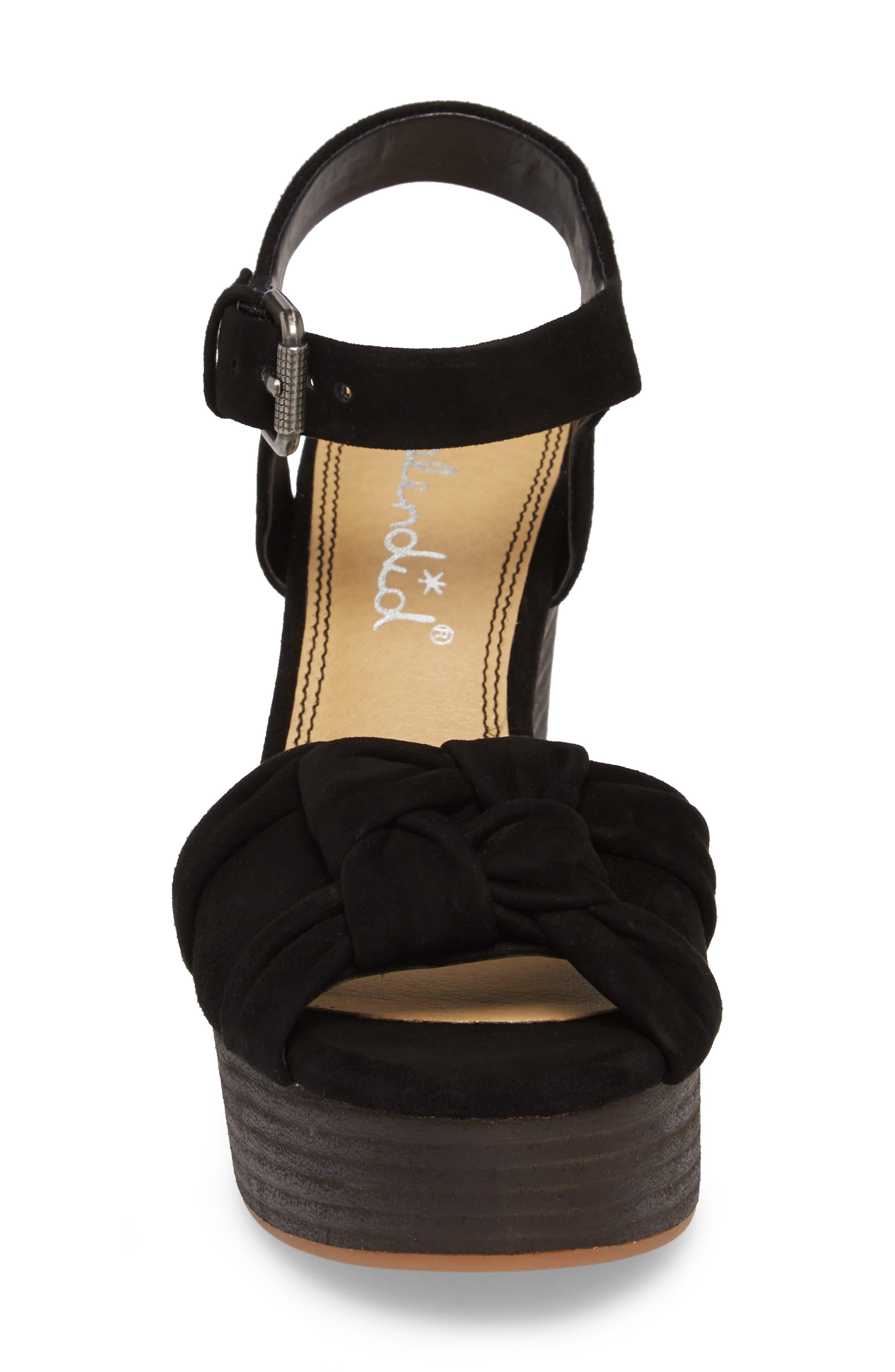 Nada Platform Wedge Sandal,                             Alternate thumbnail 4, color,                             BLACK SUEDE