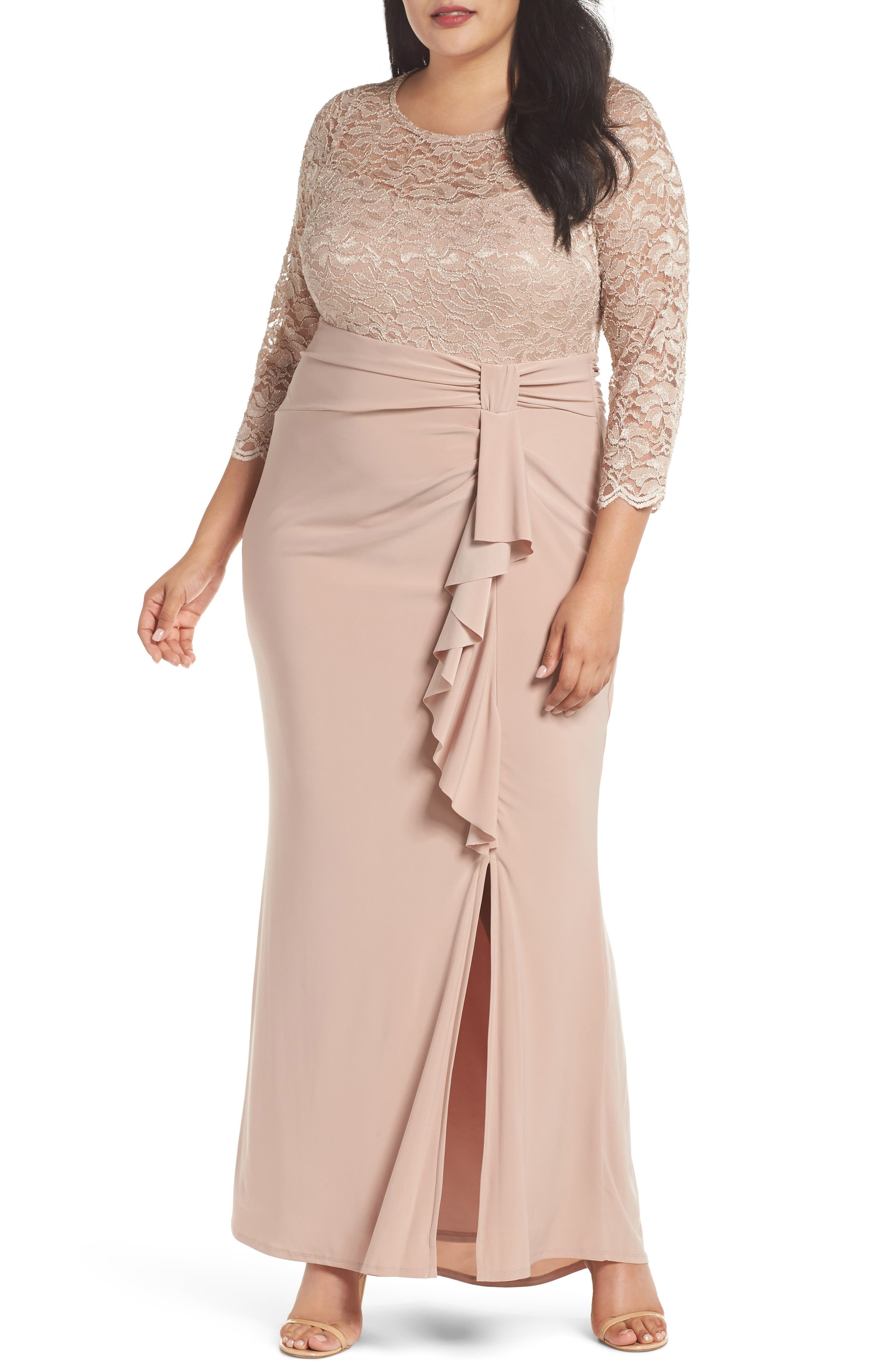 Cascade Lace & Jersey Gown,                             Main thumbnail 1, color,                             250
