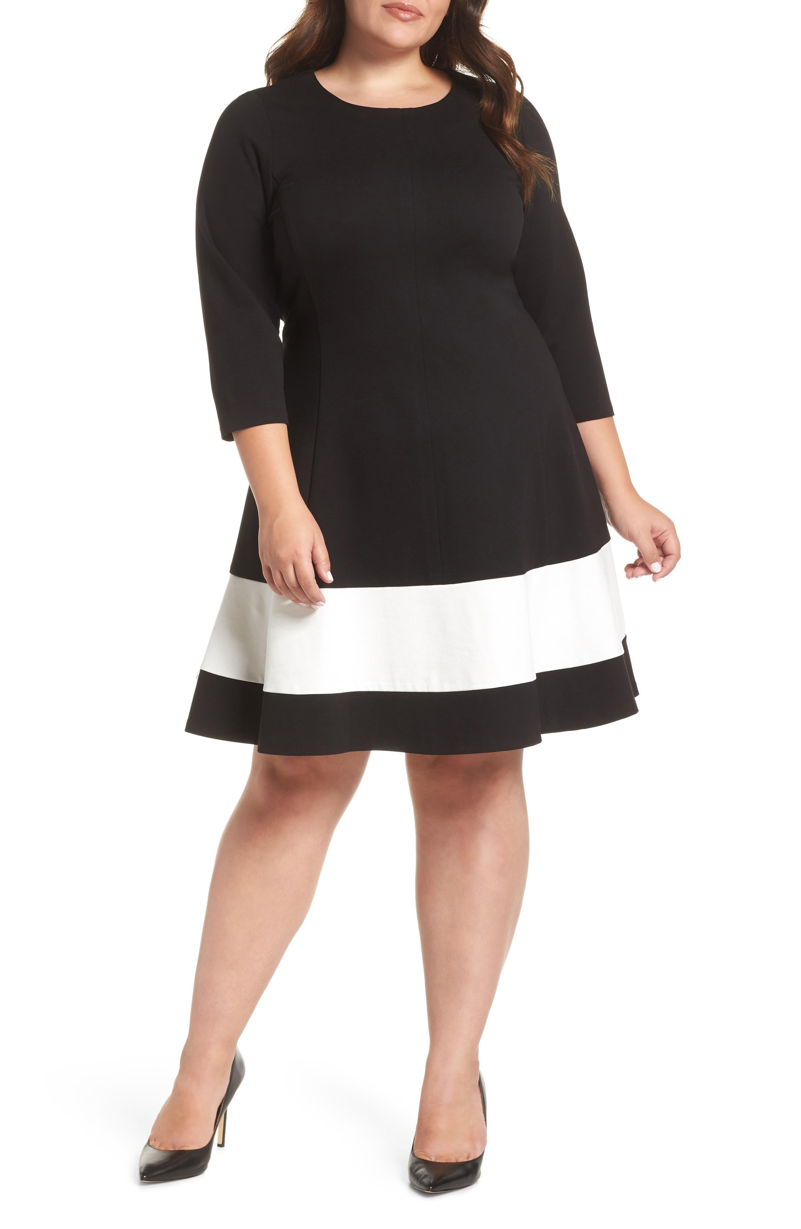 Plus Size Eliza J Colorblock Stripe Fit & Flare Dress, Black