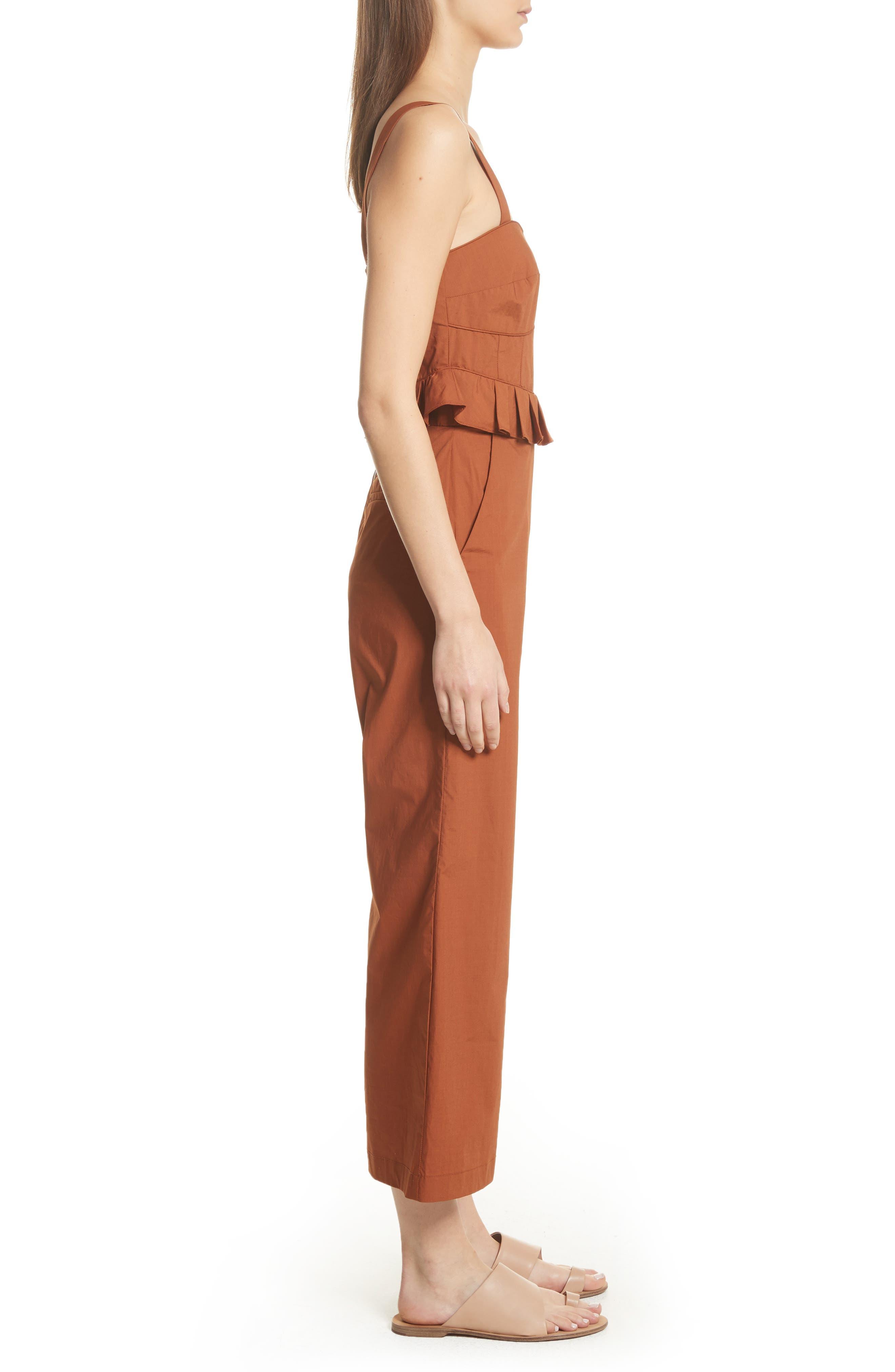 Leia Ruffle Waist Jumpsuit,                             Alternate thumbnail 3, color,