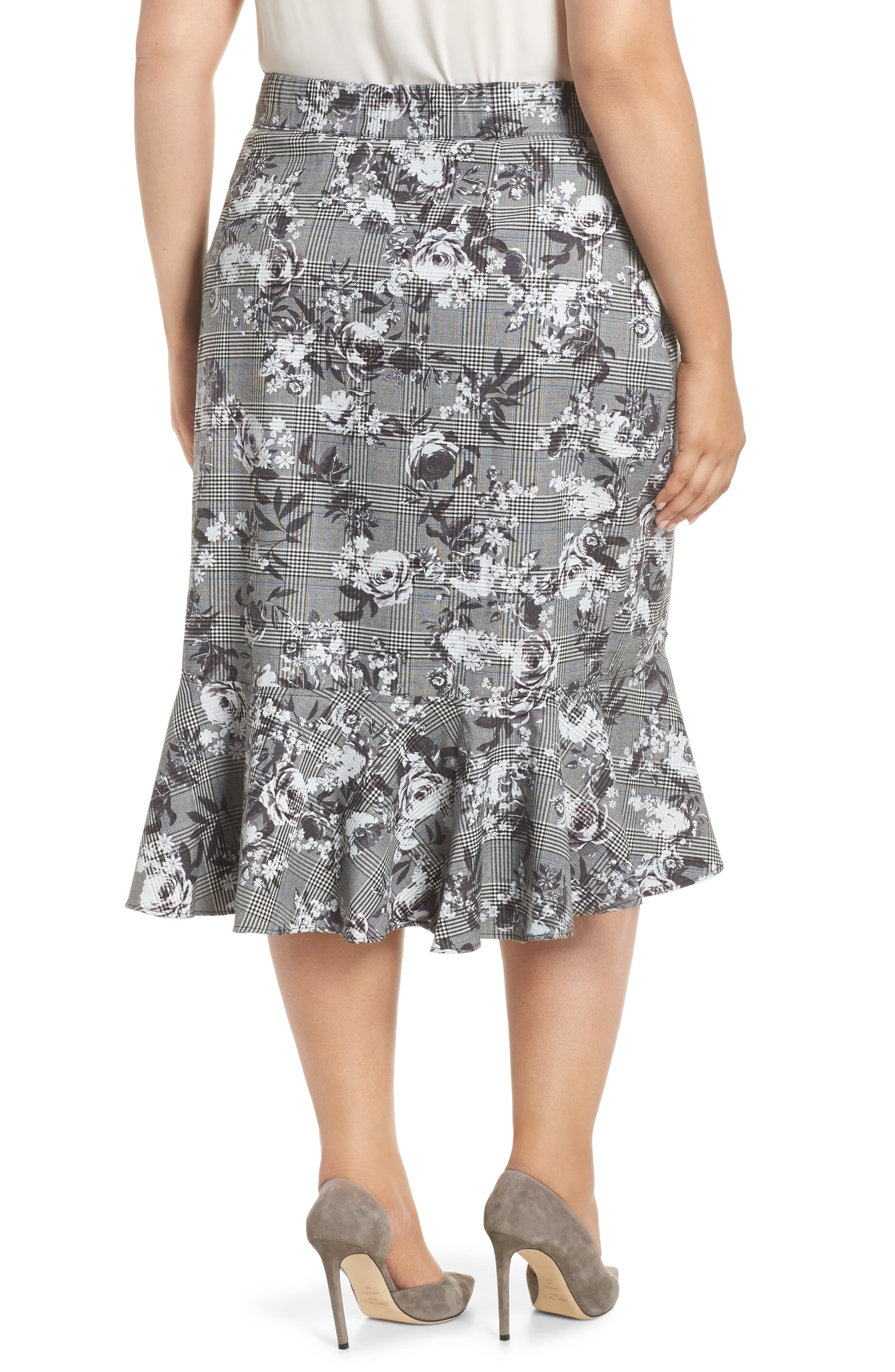 Bailen Pattern Mix Skirt,                             Alternate thumbnail 2, color,                             GREY COMBO