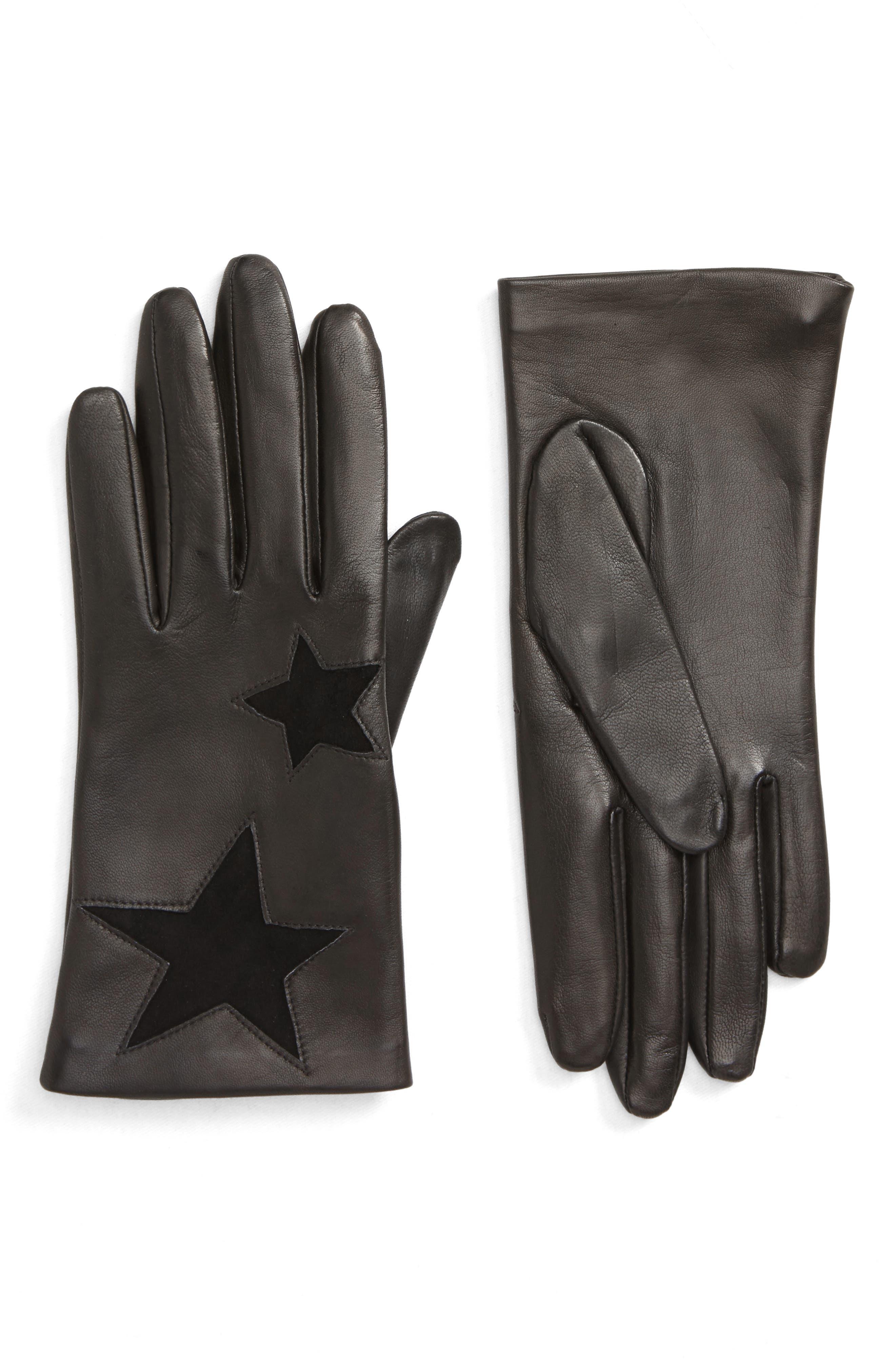 Nordstrom Star Lambskin Leather Gloves, Black