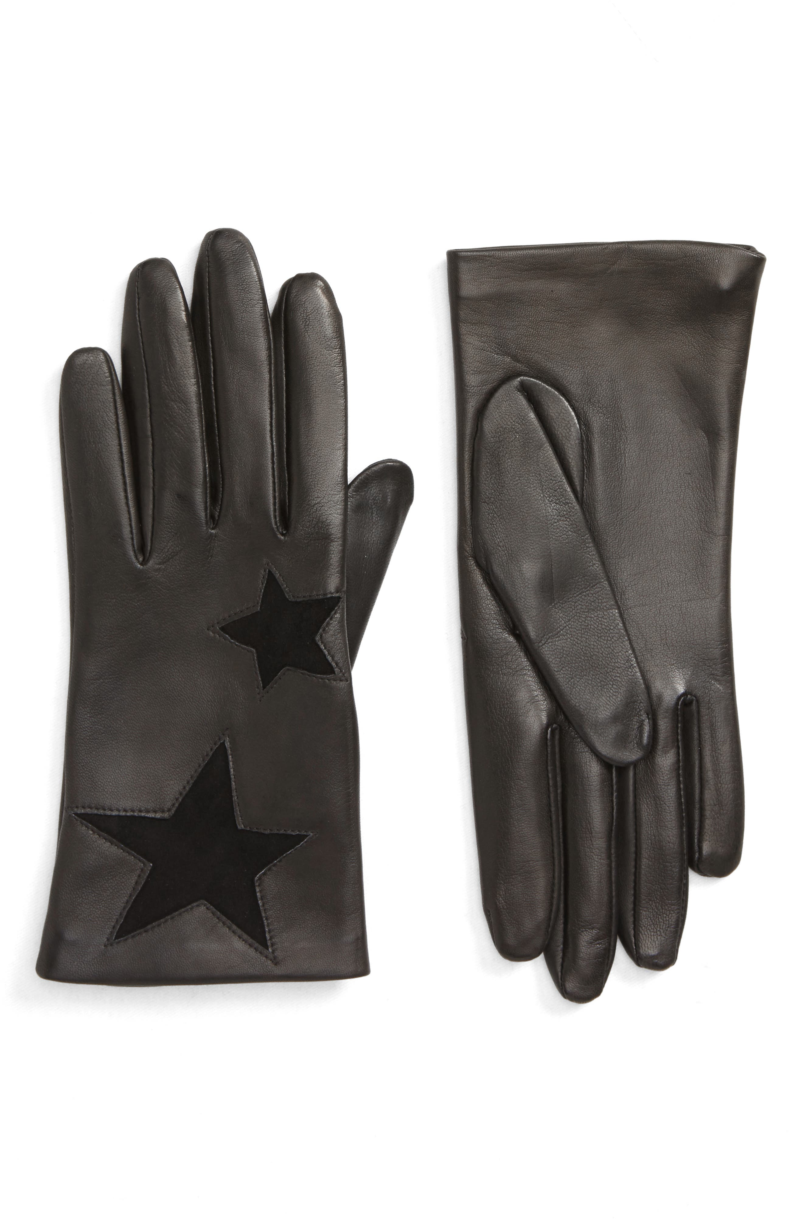 NORDSTROM Star Lambskin Leather Gloves, Main, color, 001