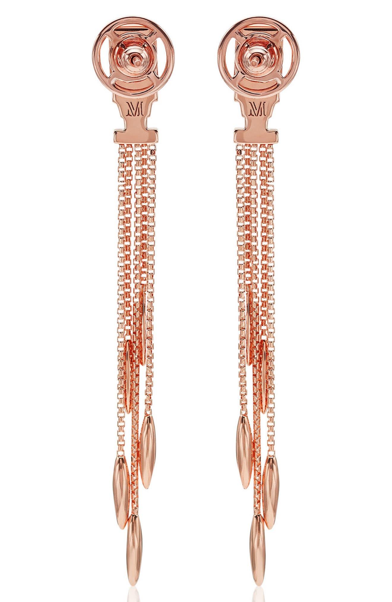 Baja Deco Fringe Earrings,                             Alternate thumbnail 3, color,                             ROSE GOLD/ LABRADORITE