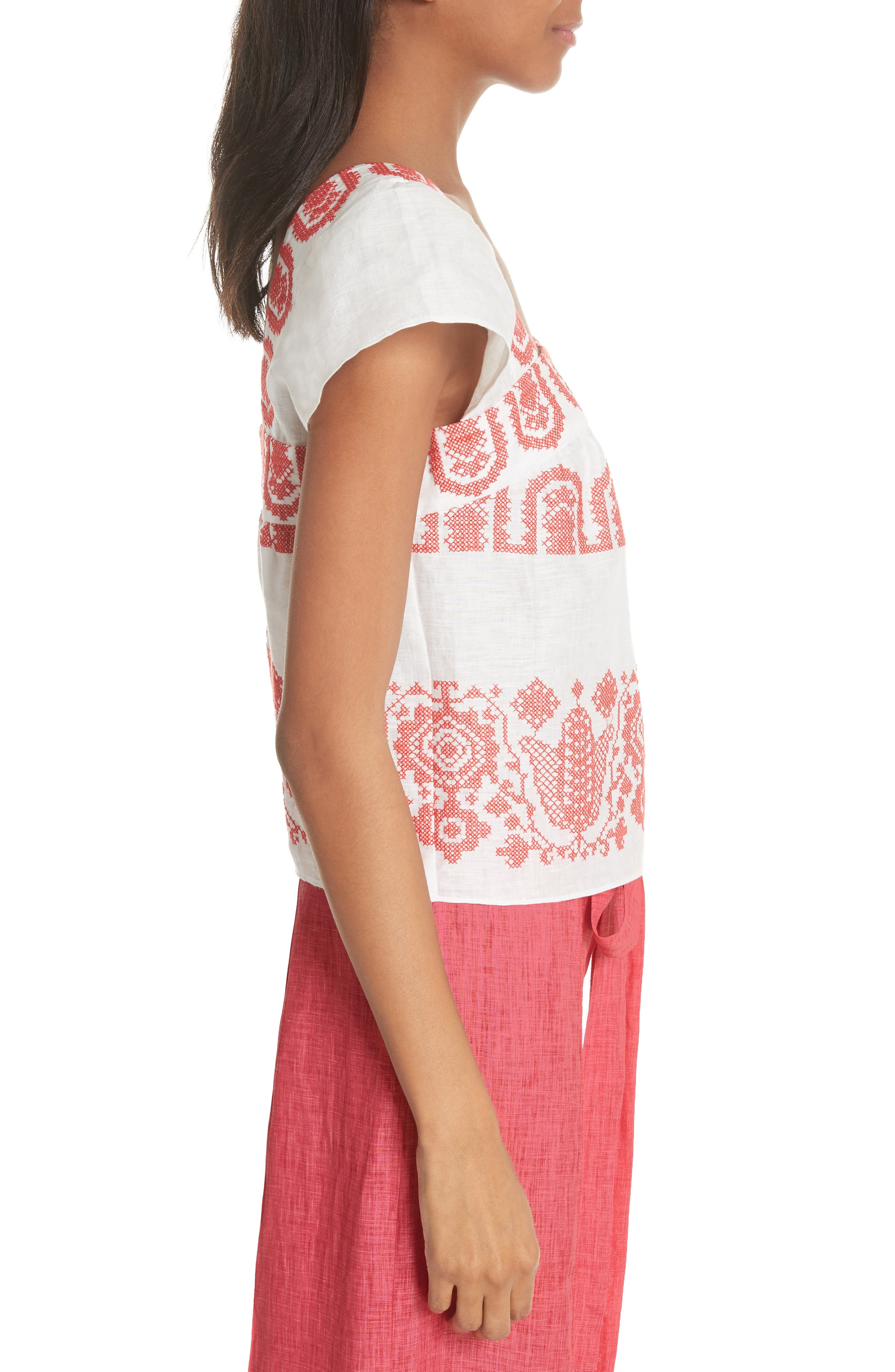 Mykonos Embroidered Crop Square Neck Linen Top,                             Alternate thumbnail 3, color,                             POPPY