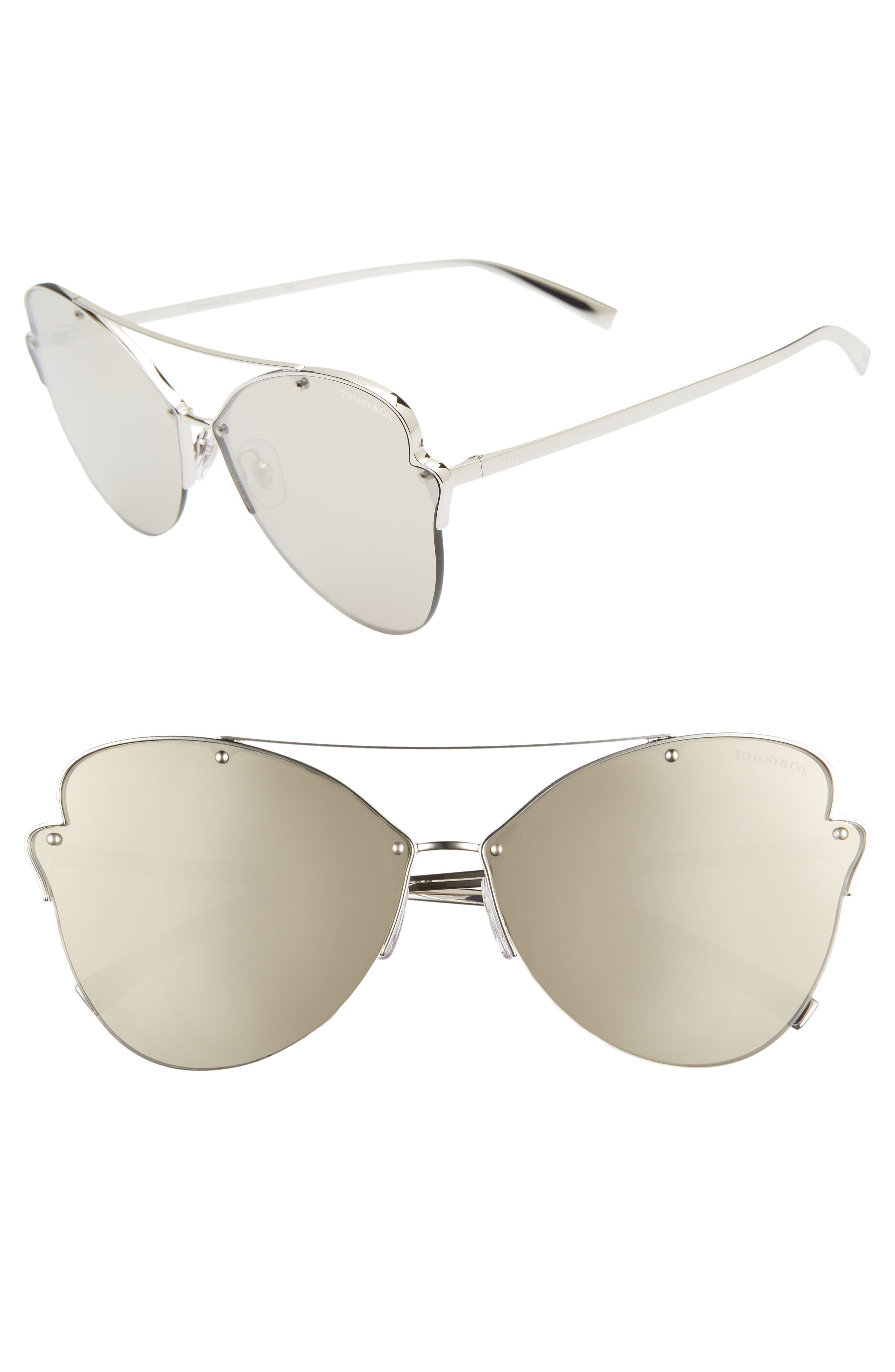TIFFANY & CO Paper Flowers 64Mm Oversize Mirrored Sunglasses - Silver Mirror