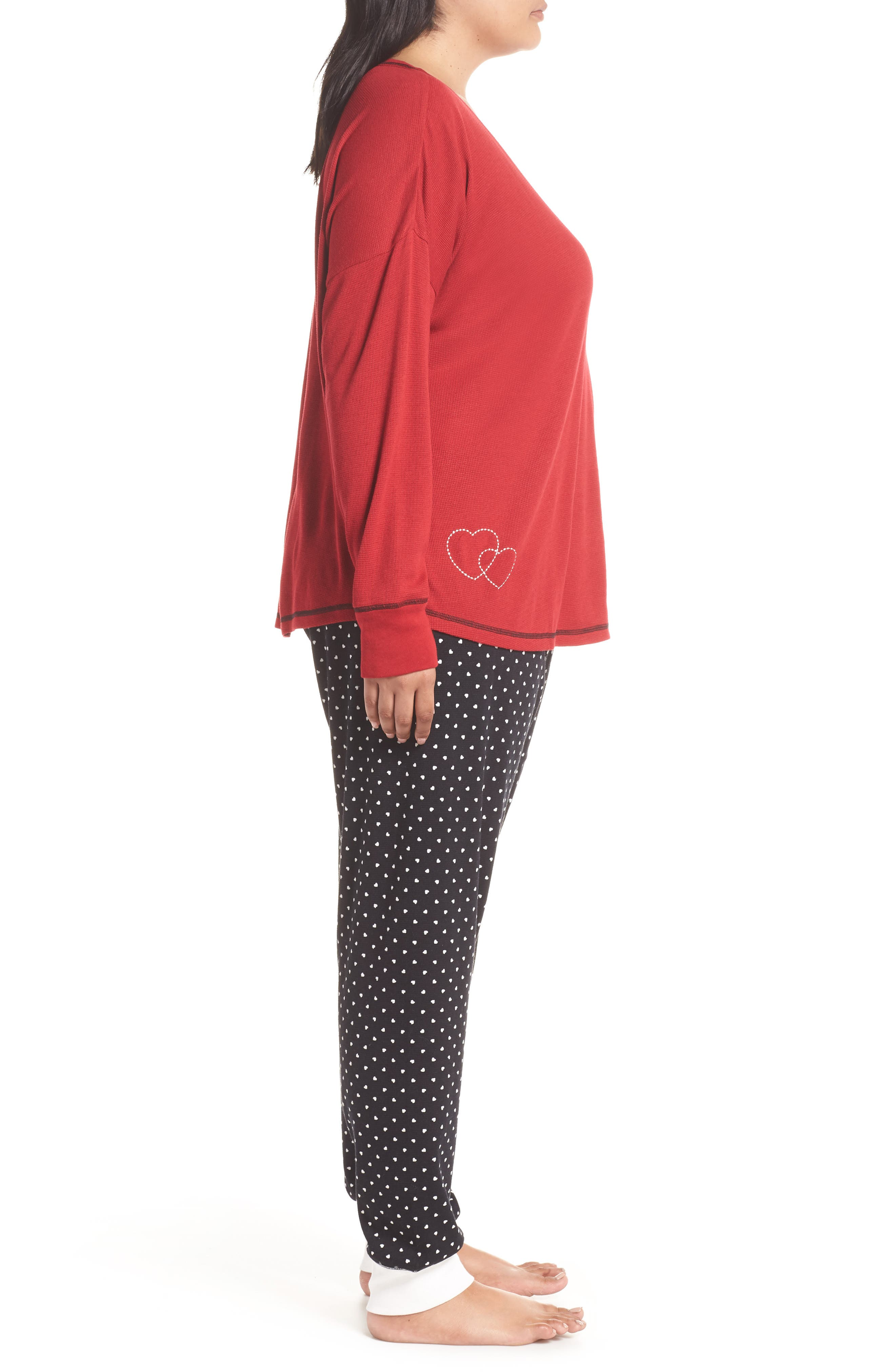 Thermal Pajamas,                             Alternate thumbnail 3, color,                             BLACK