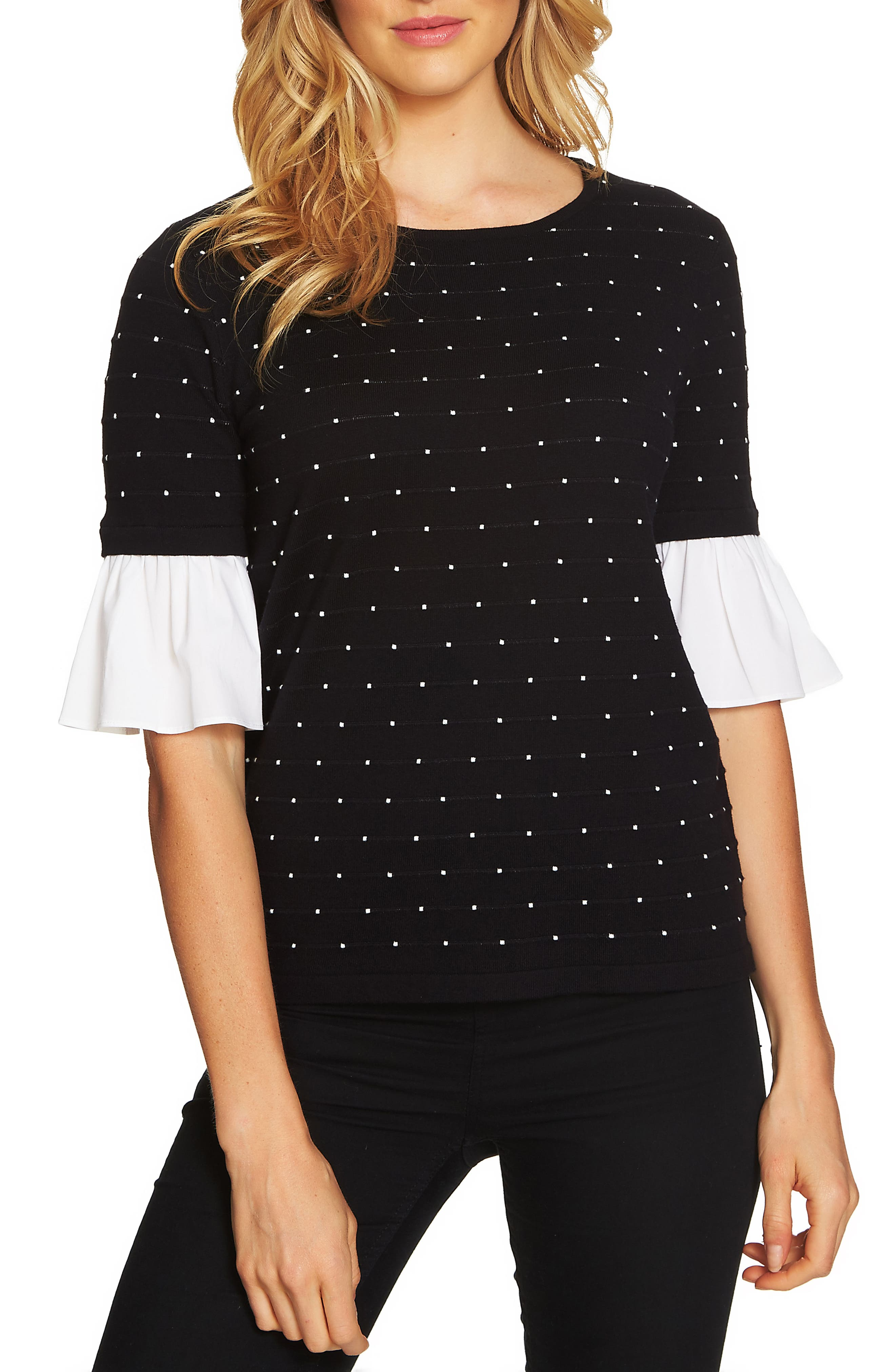 Ruffle Sleeve Jacquard Sweater,                         Main,                         color, 001