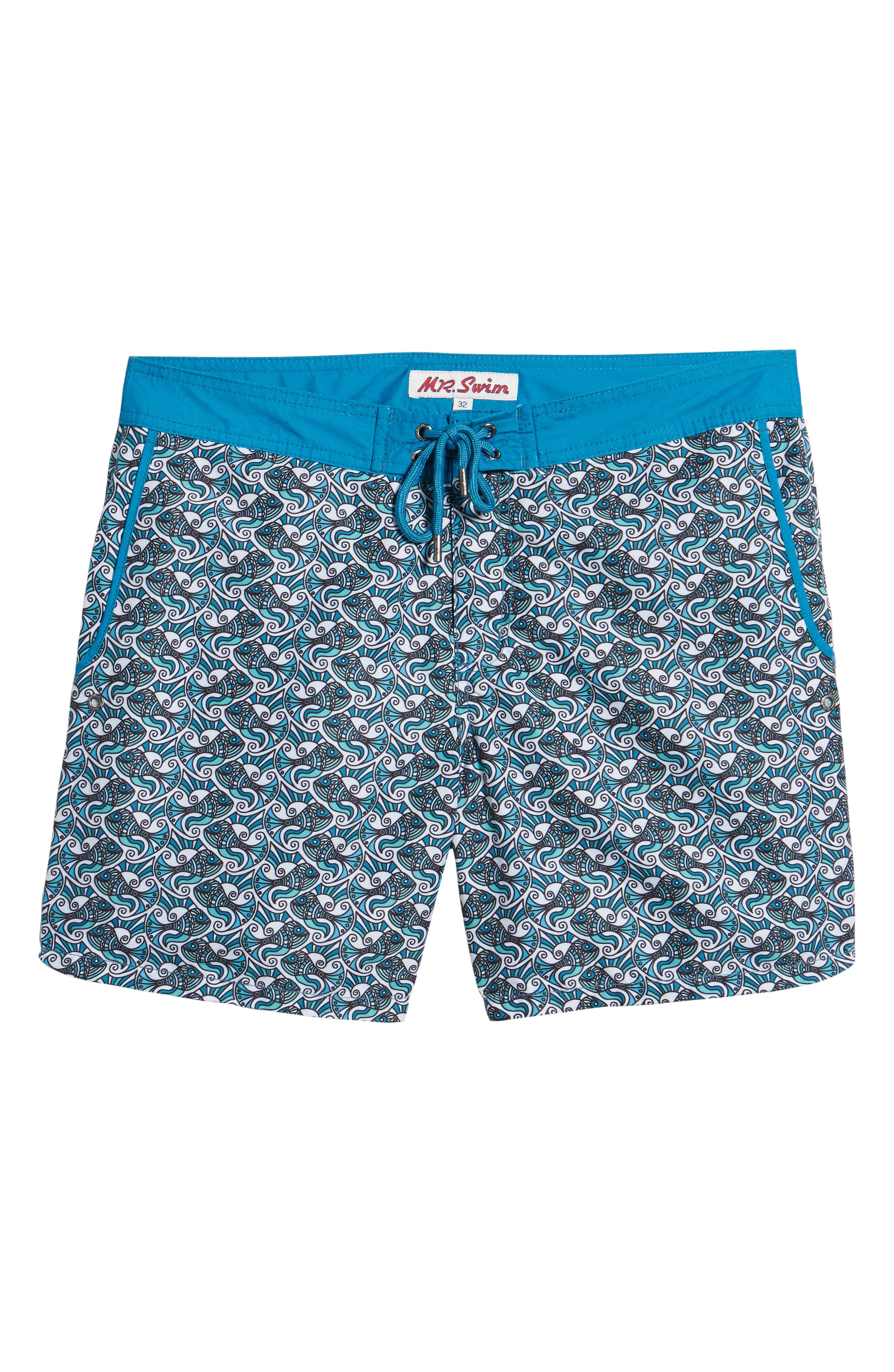 Mr. Swim Fish Swirls Print Swim Trunks,                             Alternate thumbnail 6, color,                             440