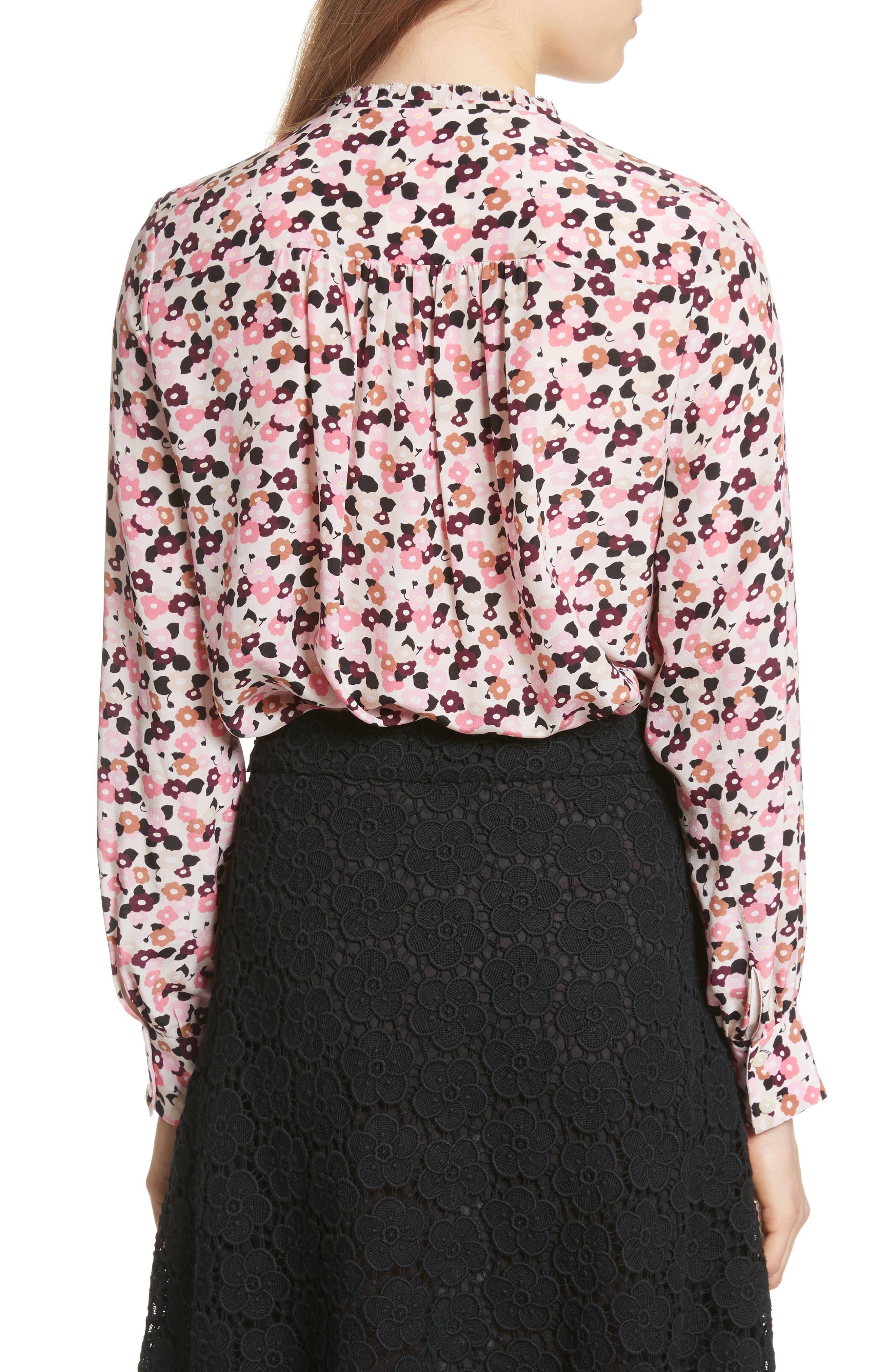 bloom print silk blouse,                             Alternate thumbnail 2, color,                             672