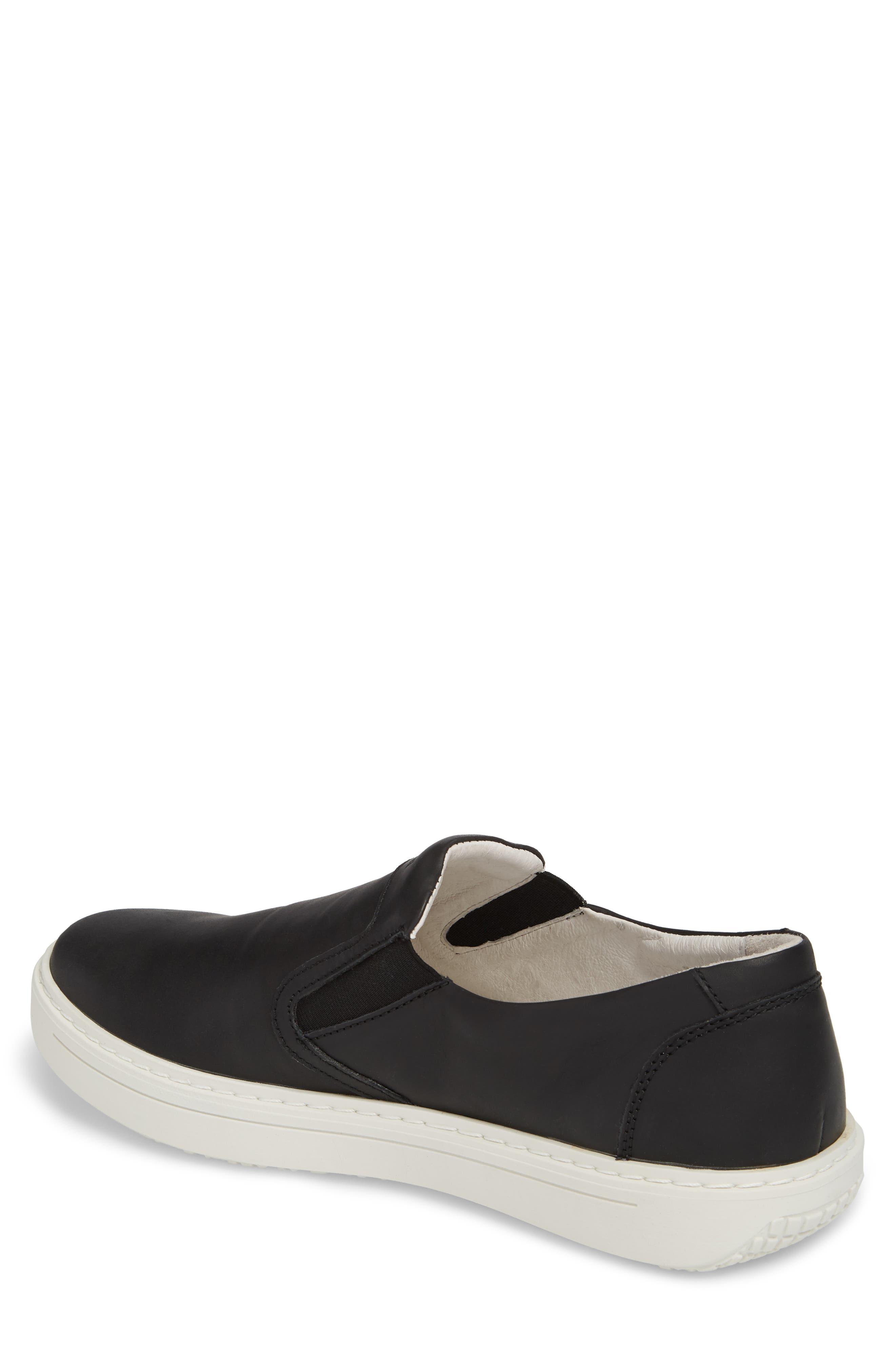 Quentin 15 Slip-On Sneaker,                             Alternate thumbnail 2, color,                             BLACK LEATHER