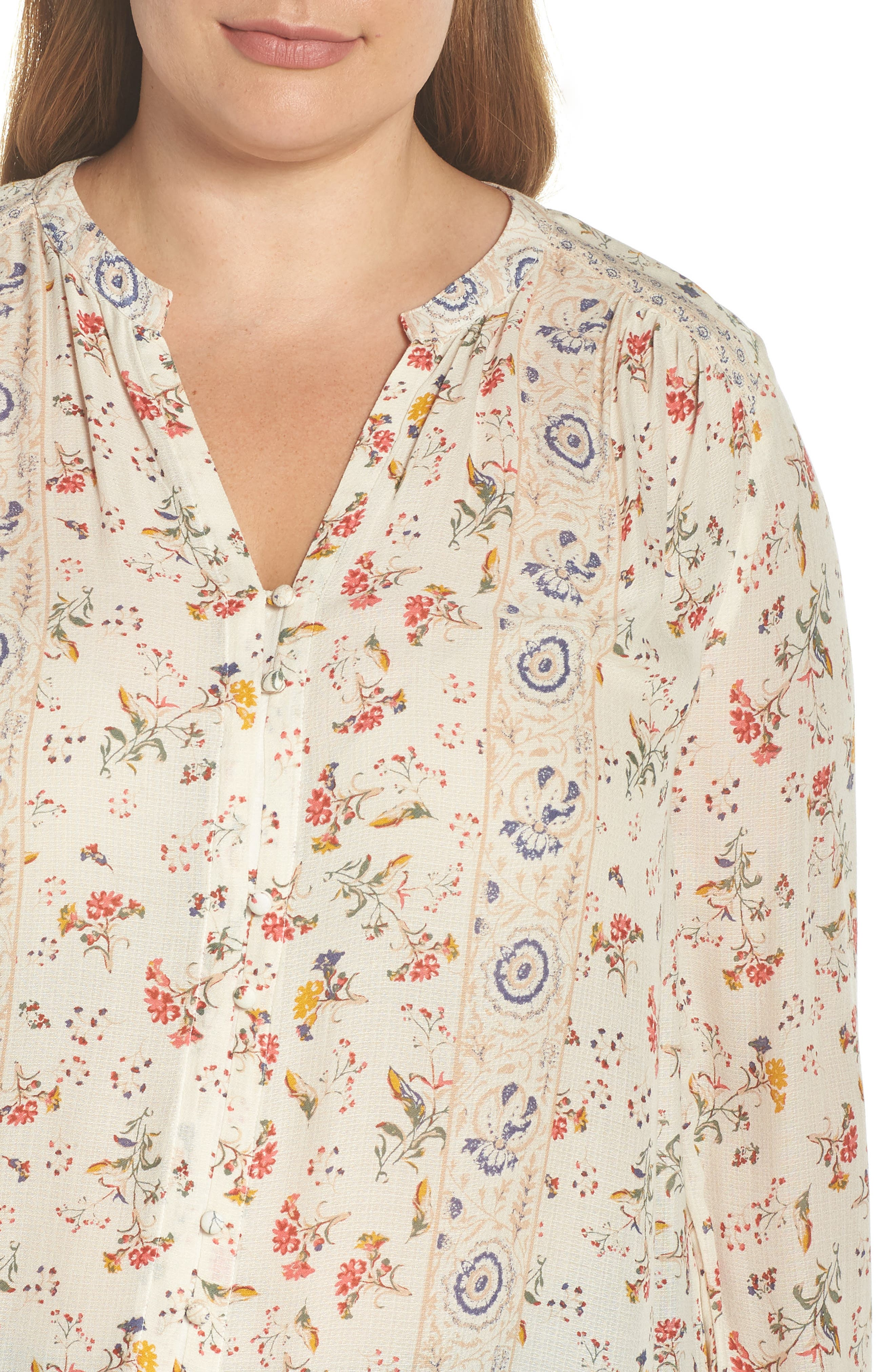 Printed Peasant Top,                             Alternate thumbnail 4, color,                             NATURAL MULTI