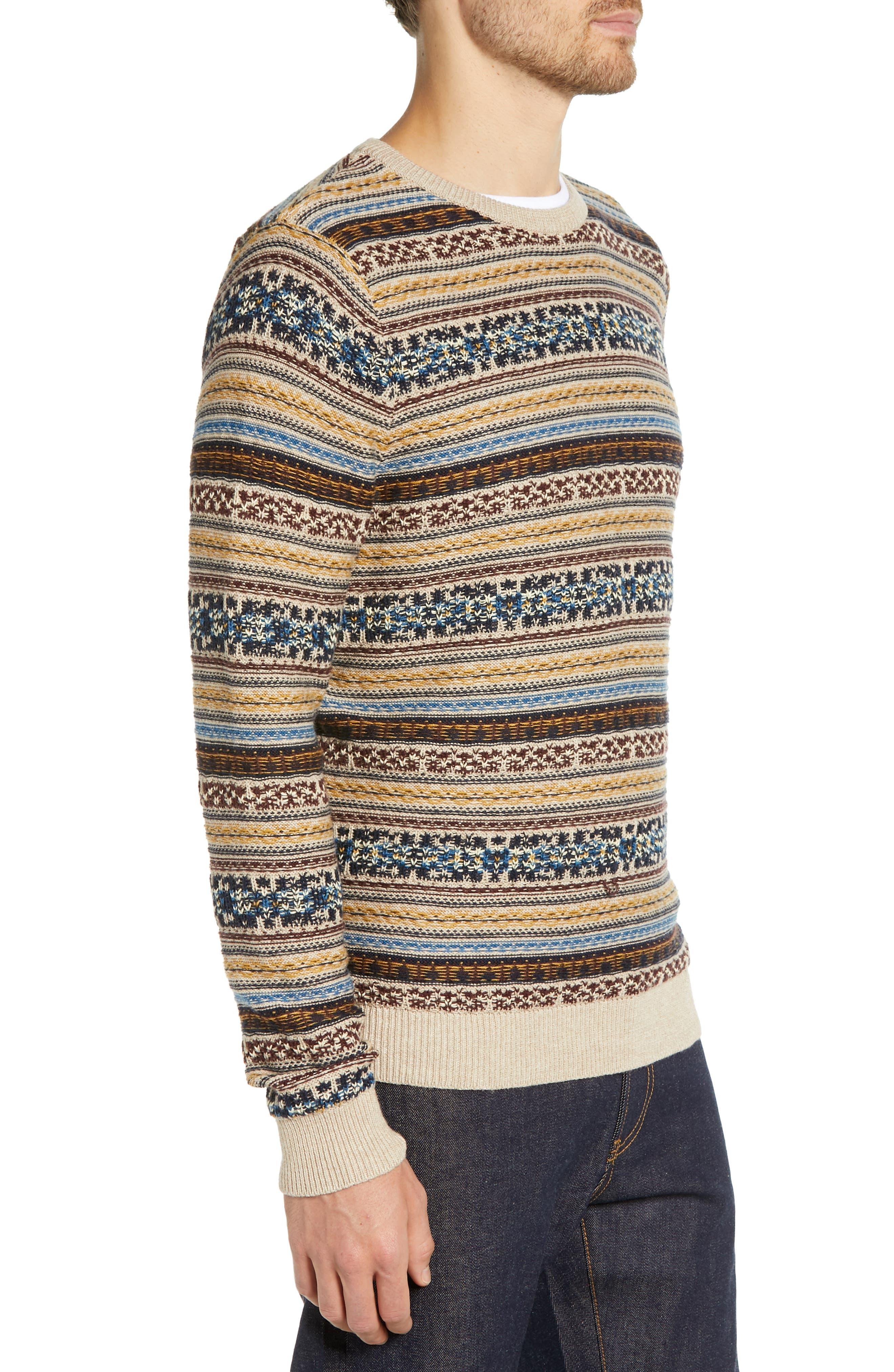 Regular Fit Fair Isle Crewneck Sweater,                             Alternate thumbnail 3, color,                             BROWN SIENA FAIRISLE