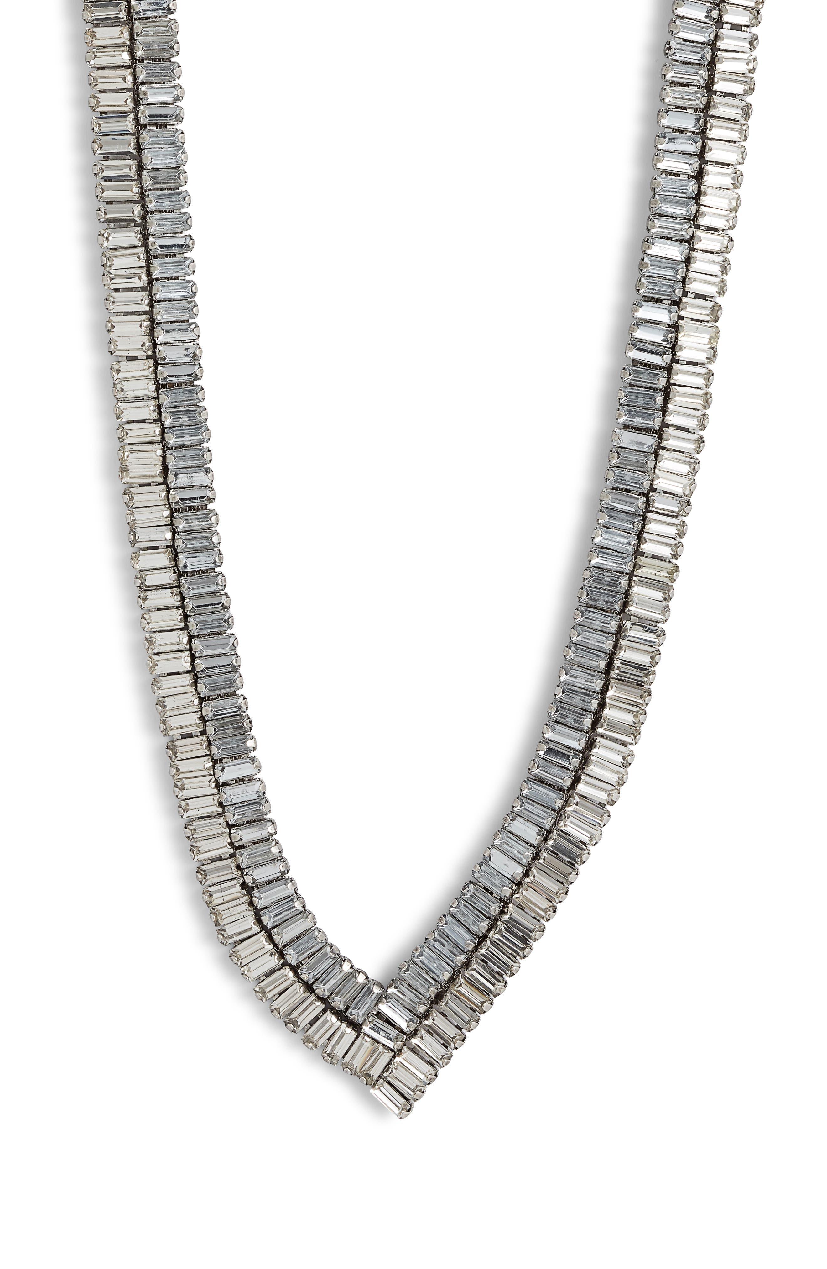 STELLA + RUBY Baguette Necklace in Gunmetal/ Crystal