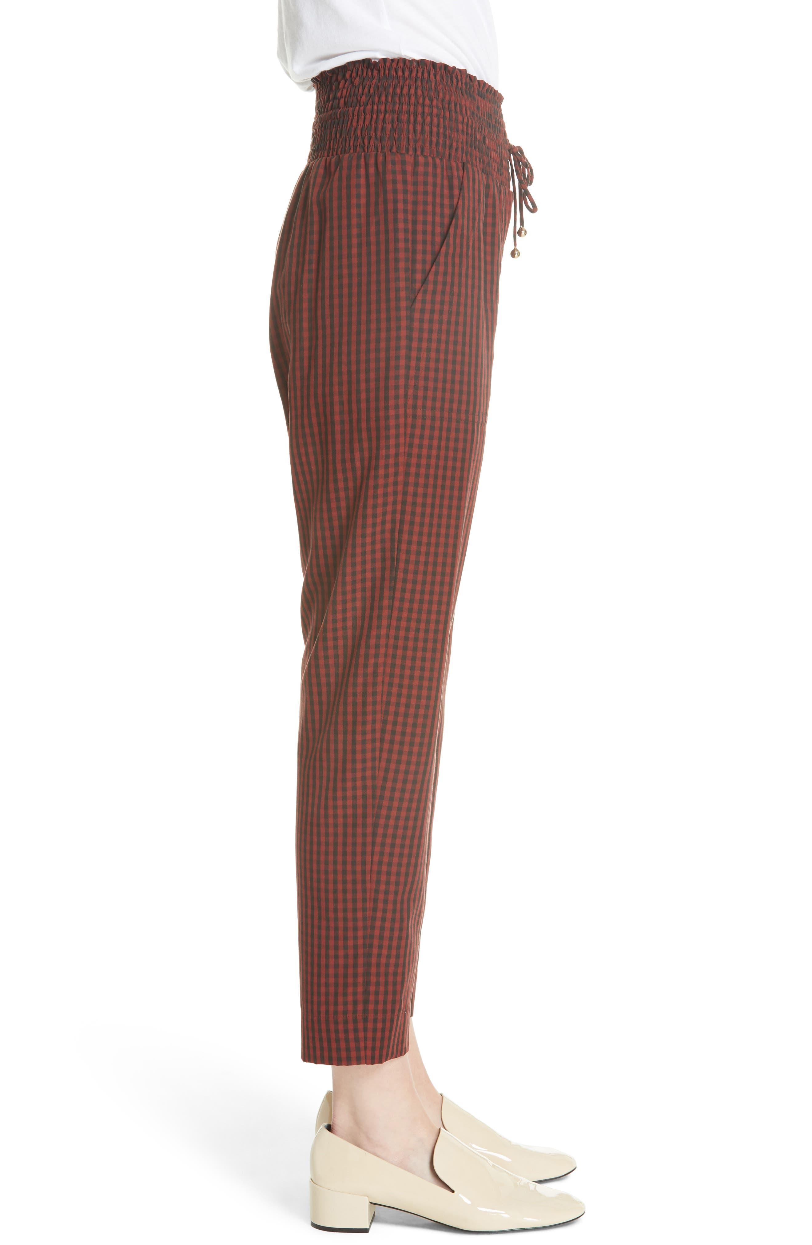 Harlem Gingham Crop Pants,                             Alternate thumbnail 3, color,                             RED CHECK