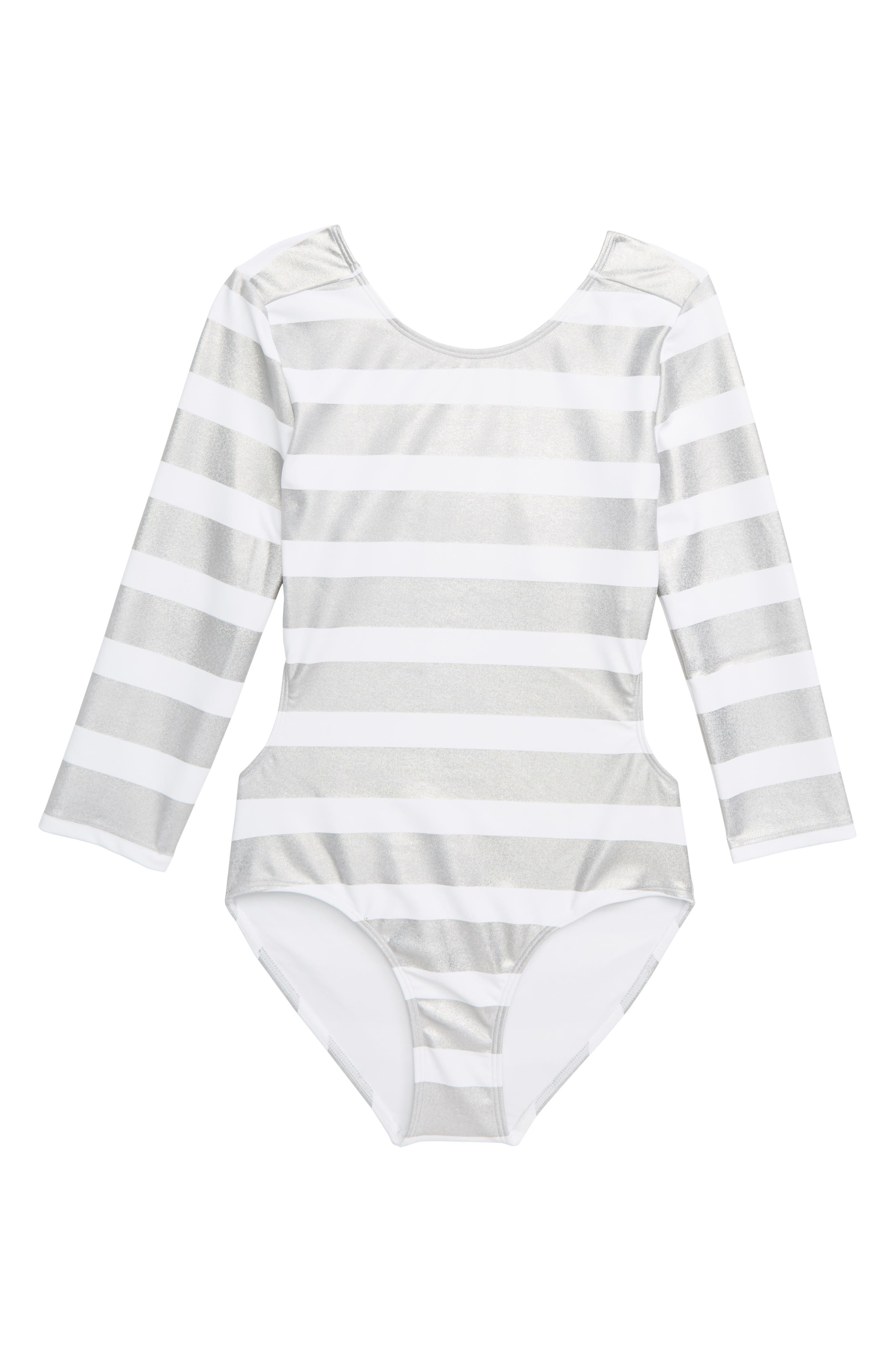 ZELLA GIRL,                             Mirror Stripe One-Piece Swimsuit,                             Main thumbnail 1, color,                             WHITE MULTI FOIL STRIPE