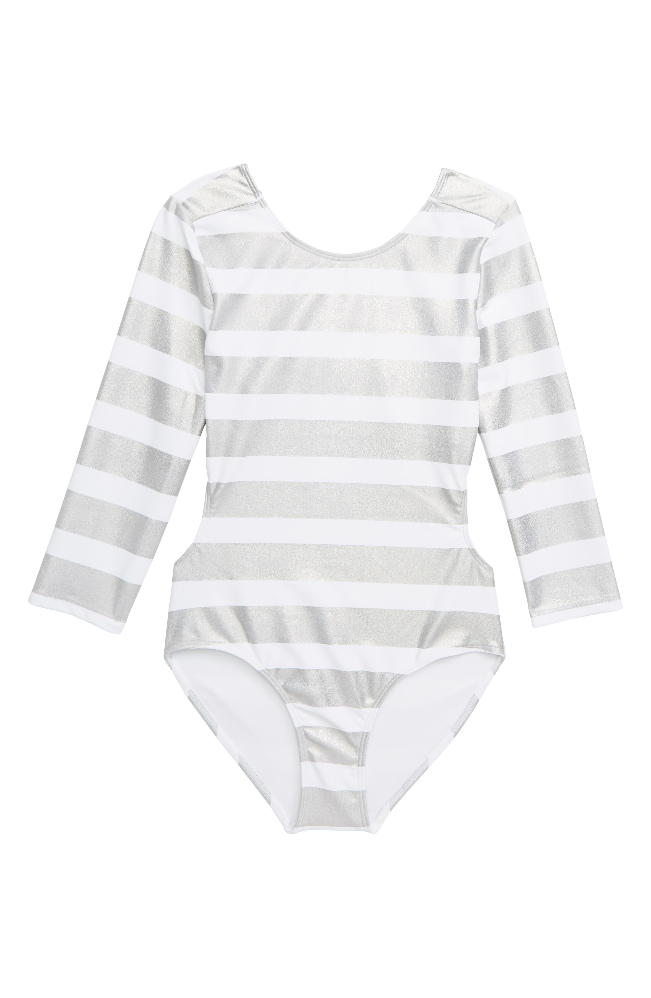 ZELLA GIRL Mirror Stripe One-Piece Swimsuit, Main, color, WHITE MULTI FOIL STRIPE