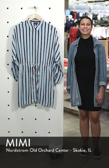 Drawstring Stripe Shirtdress, sales video thumbnail