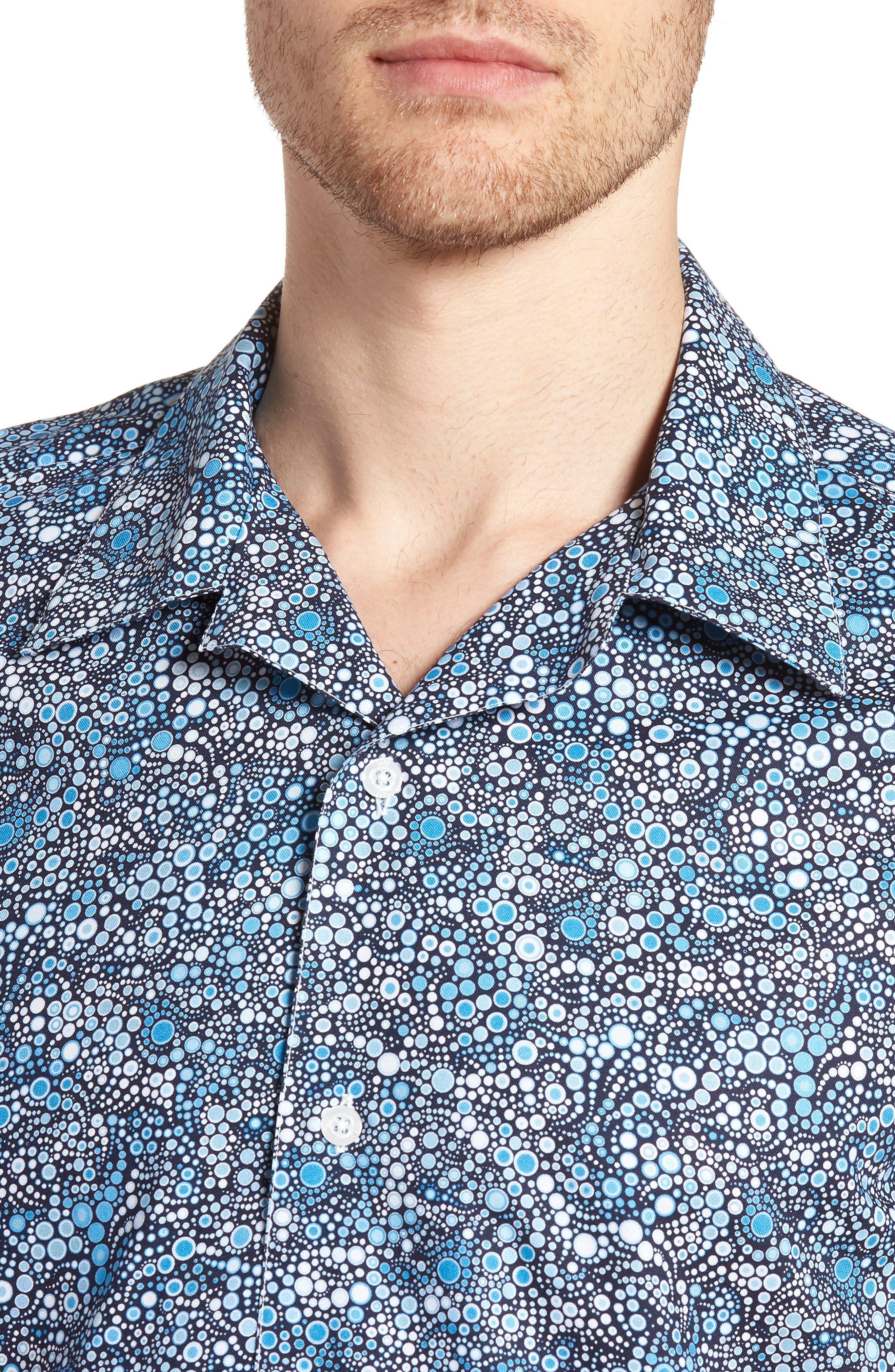Laguna Novelty Trim Fit Sport Shirt,                             Alternate thumbnail 4, color,                             BLUE