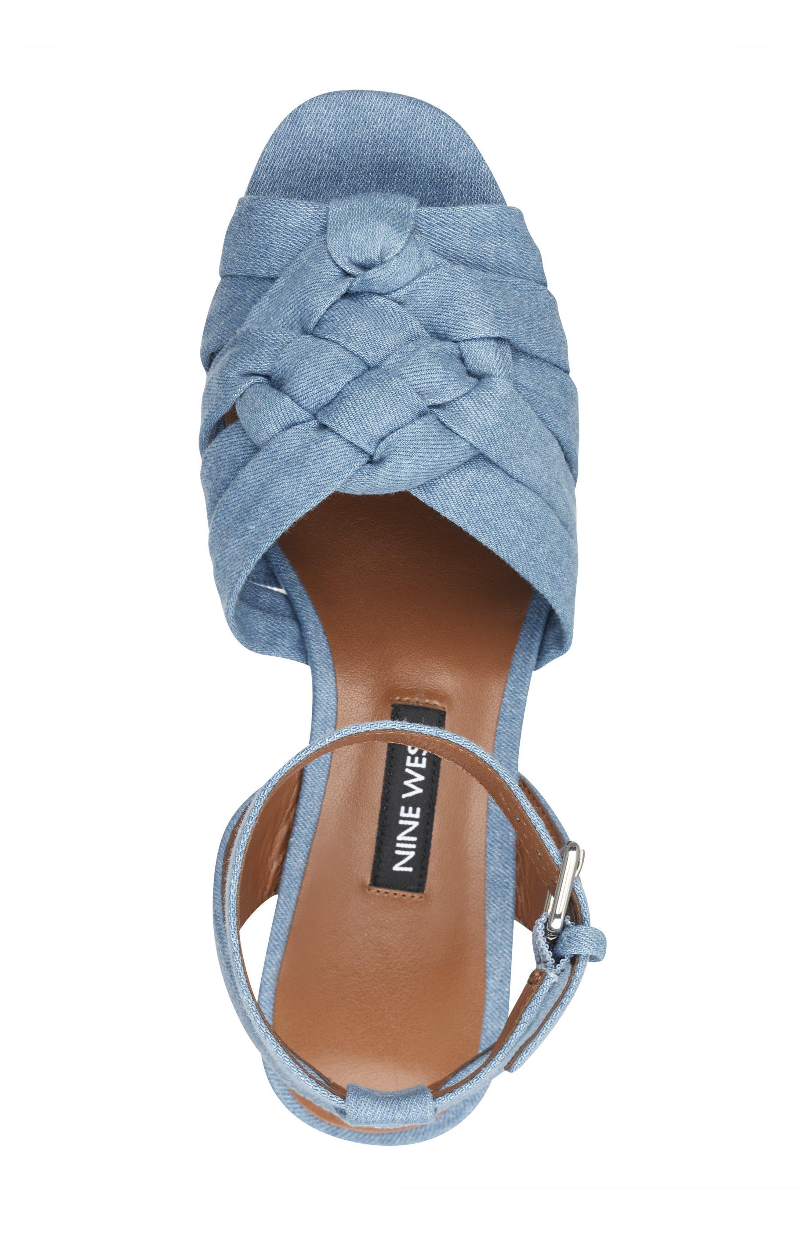 Fetuchini Platform Sandal,                             Alternate thumbnail 5, color,                             LIGHT BLUE DENIM