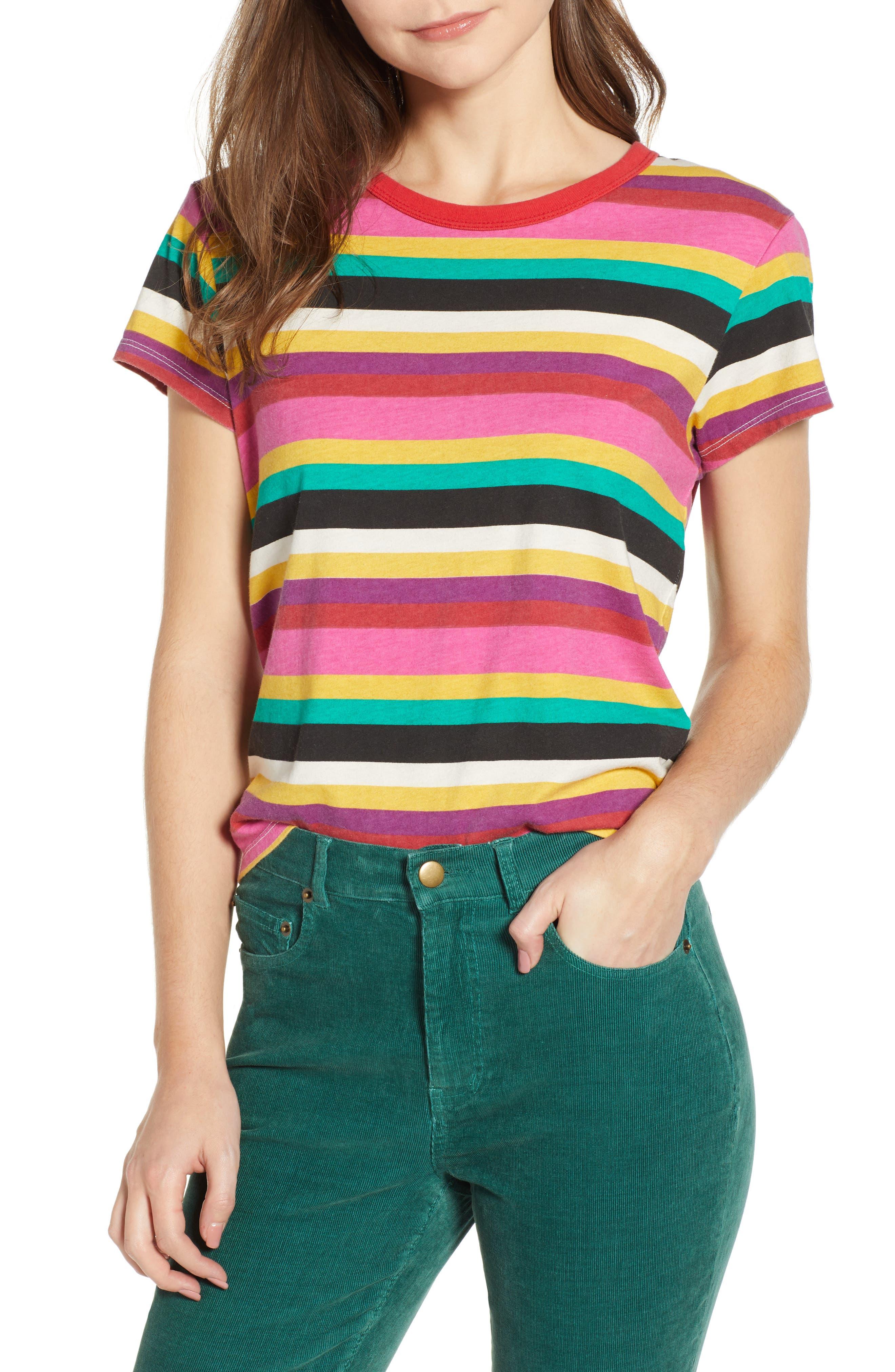 Rainbow Stripe Tee,                             Main thumbnail 1, color,                             MULTICOLOR