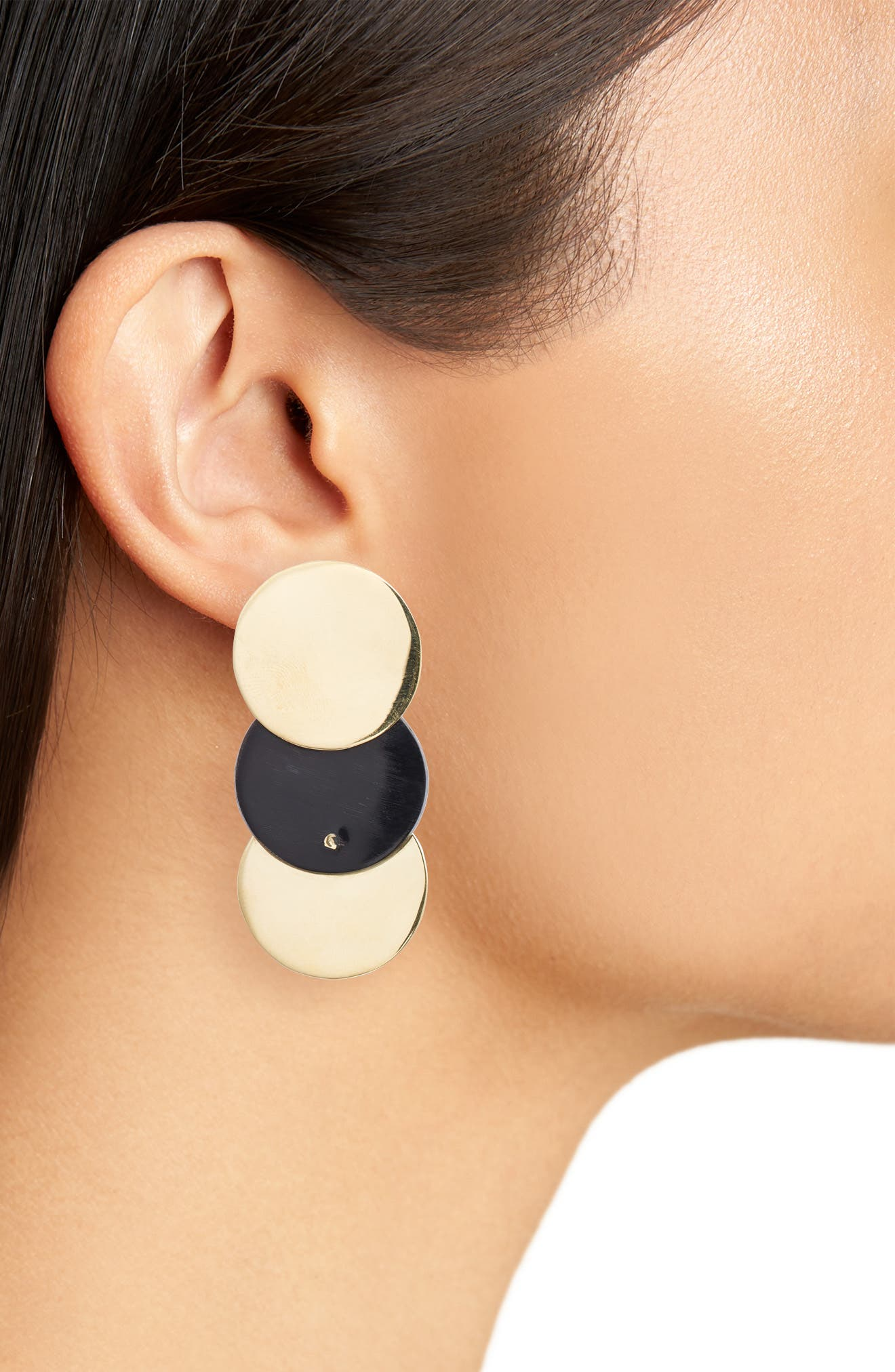 Triple Contrast Coin Earrings,                             Alternate thumbnail 3, color,