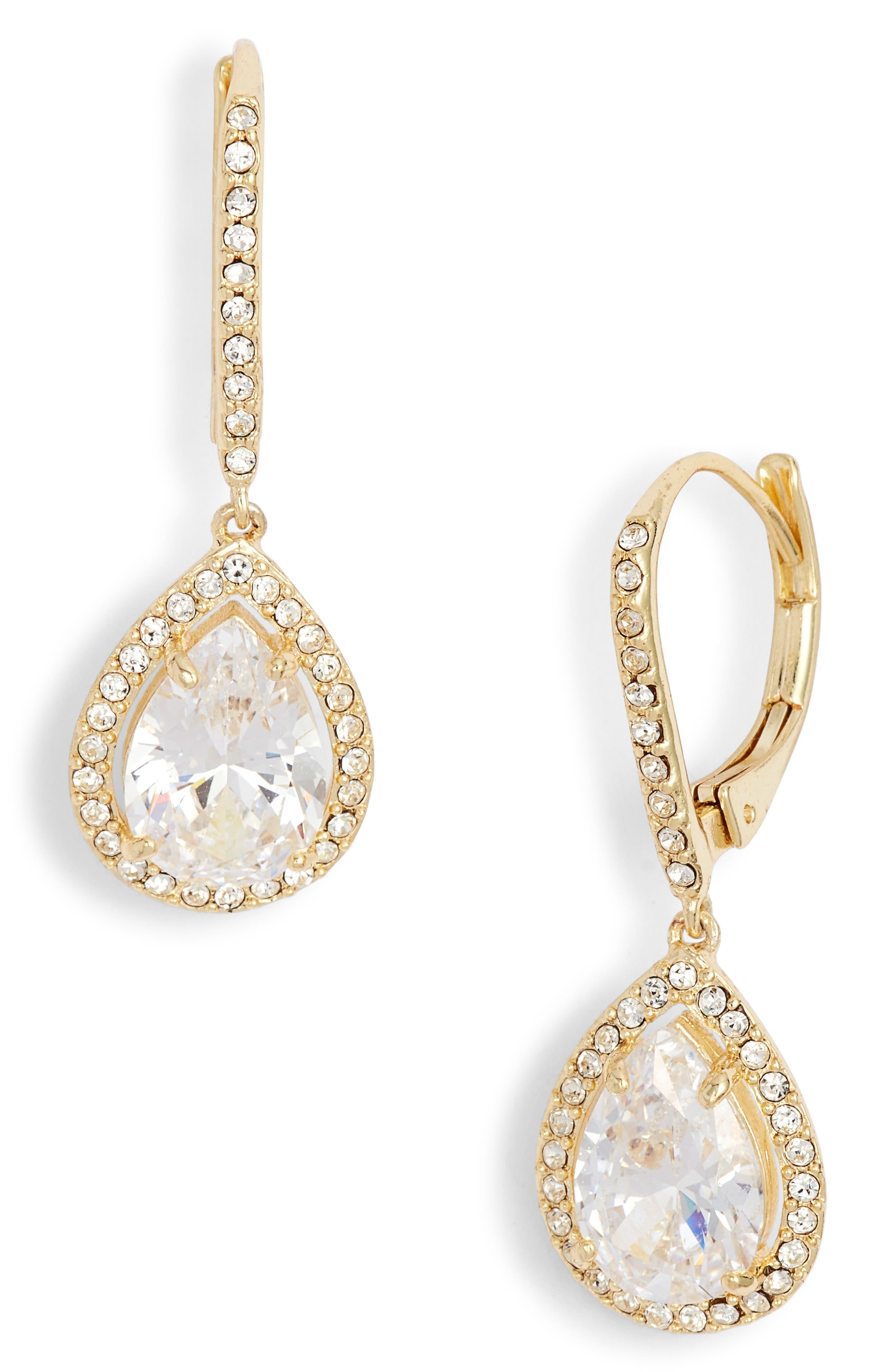 Cubic Zirconia Drop Earrings,                             Main thumbnail 1, color,                             CLEAR- GOLD