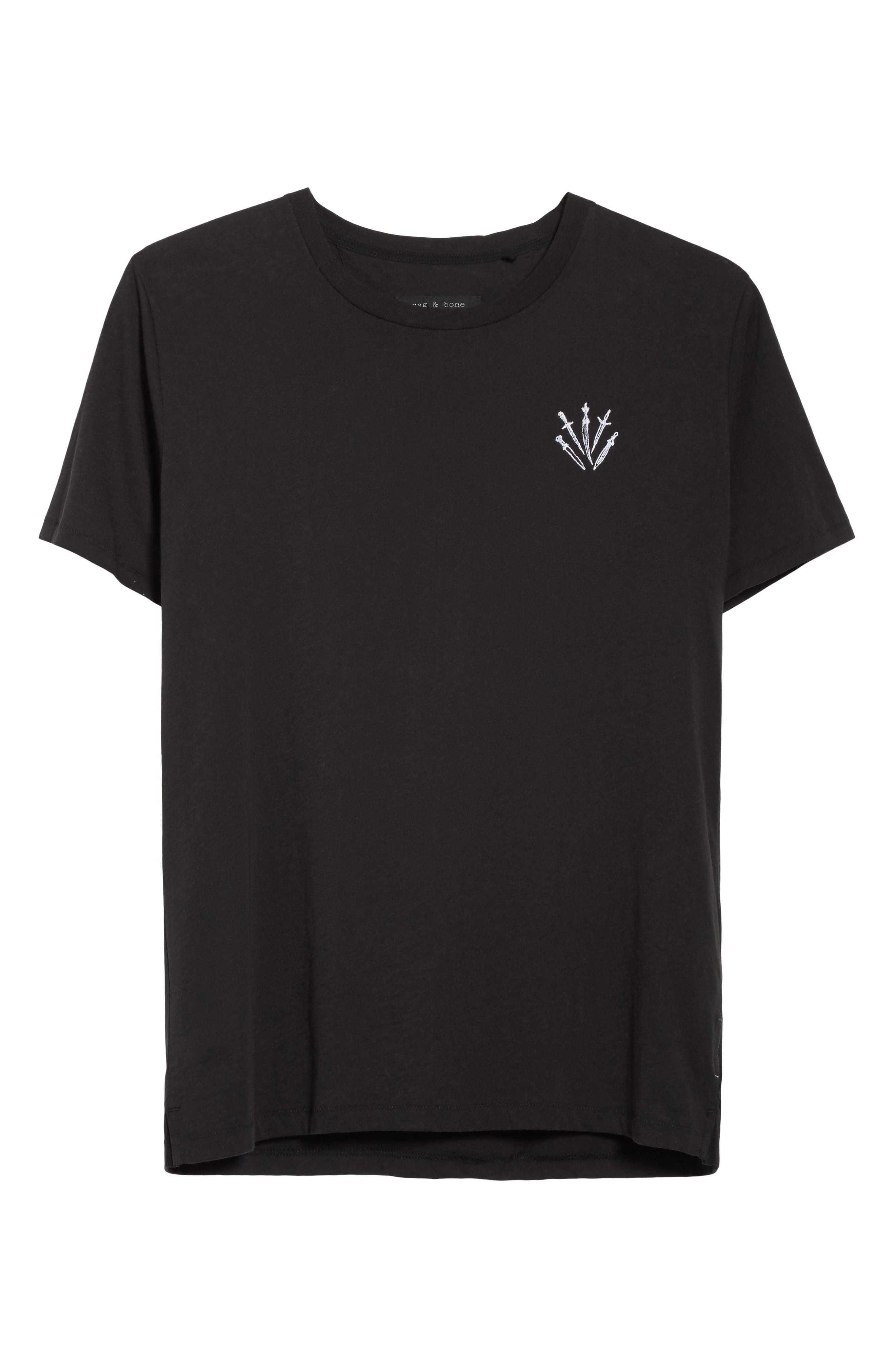 Dagger Embroidered T-Shirt,                             Alternate thumbnail 6, color,                             BLACK