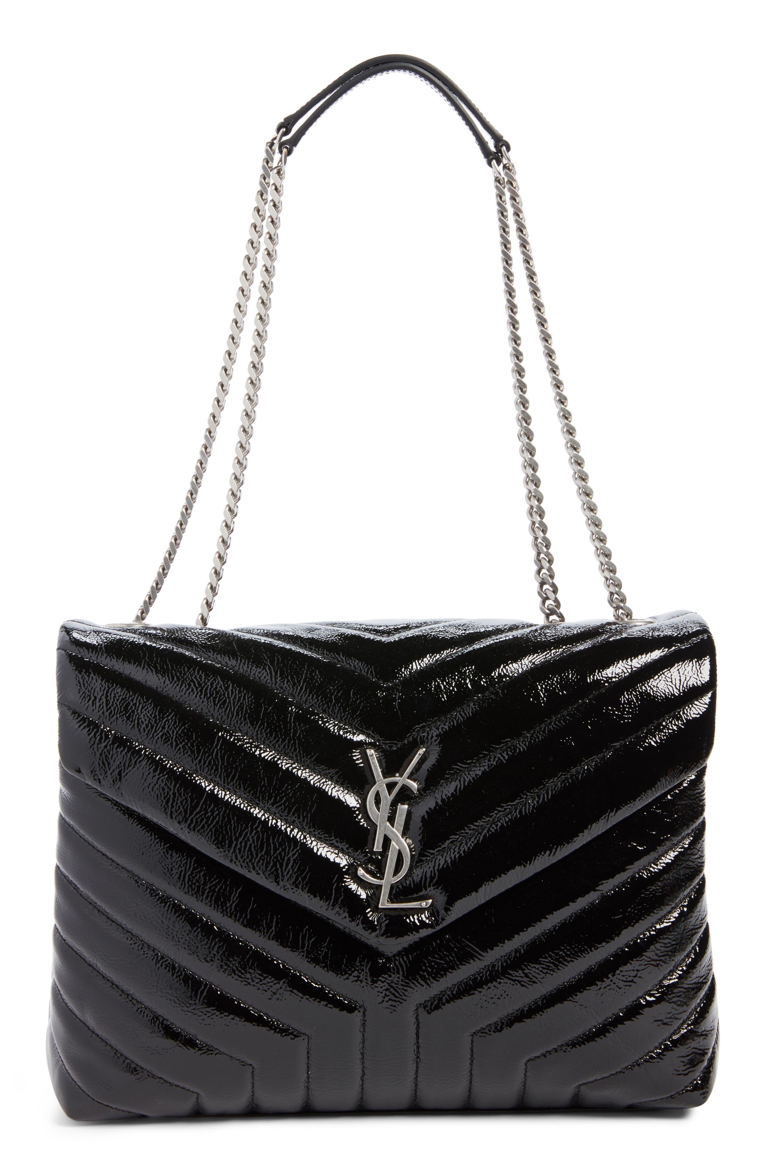 Medium Loulou Patent Leather Shoulder Bag,                             Main thumbnail 1, color,                             001