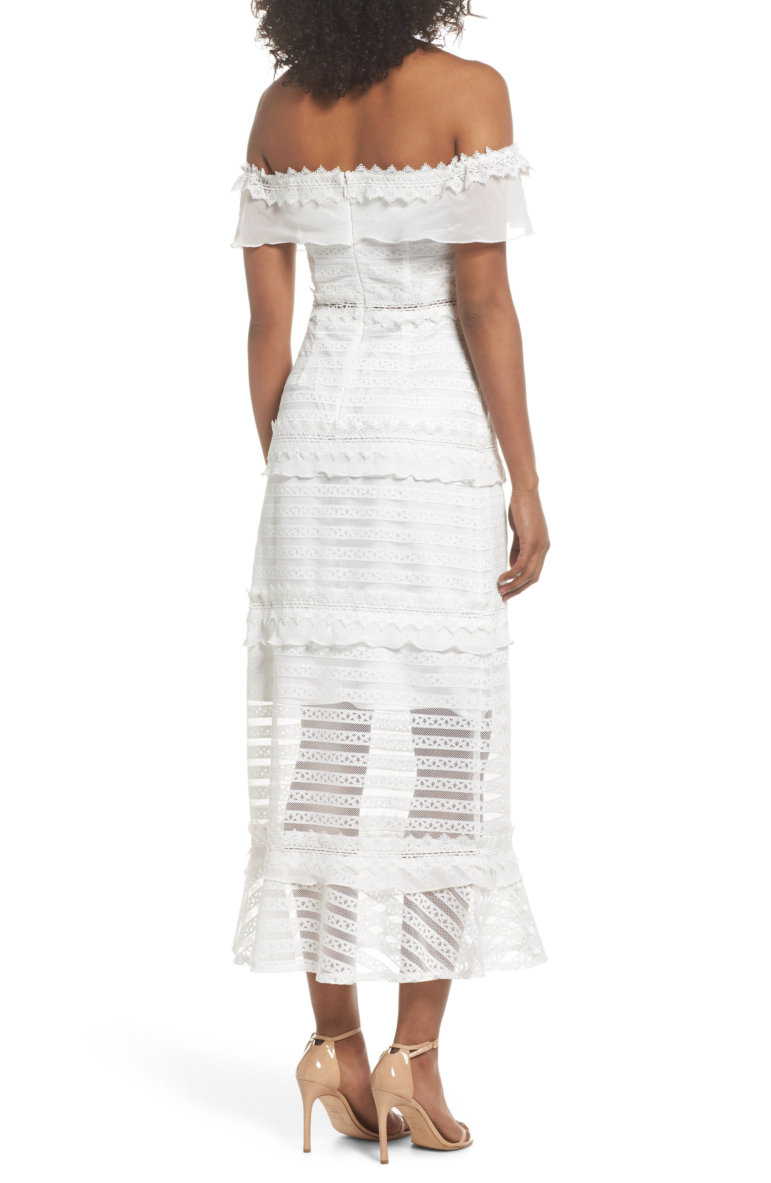 Lucy Off the Shoulder Stripe Lace Dress,                             Alternate thumbnail 2, color,                             OFF WHITE