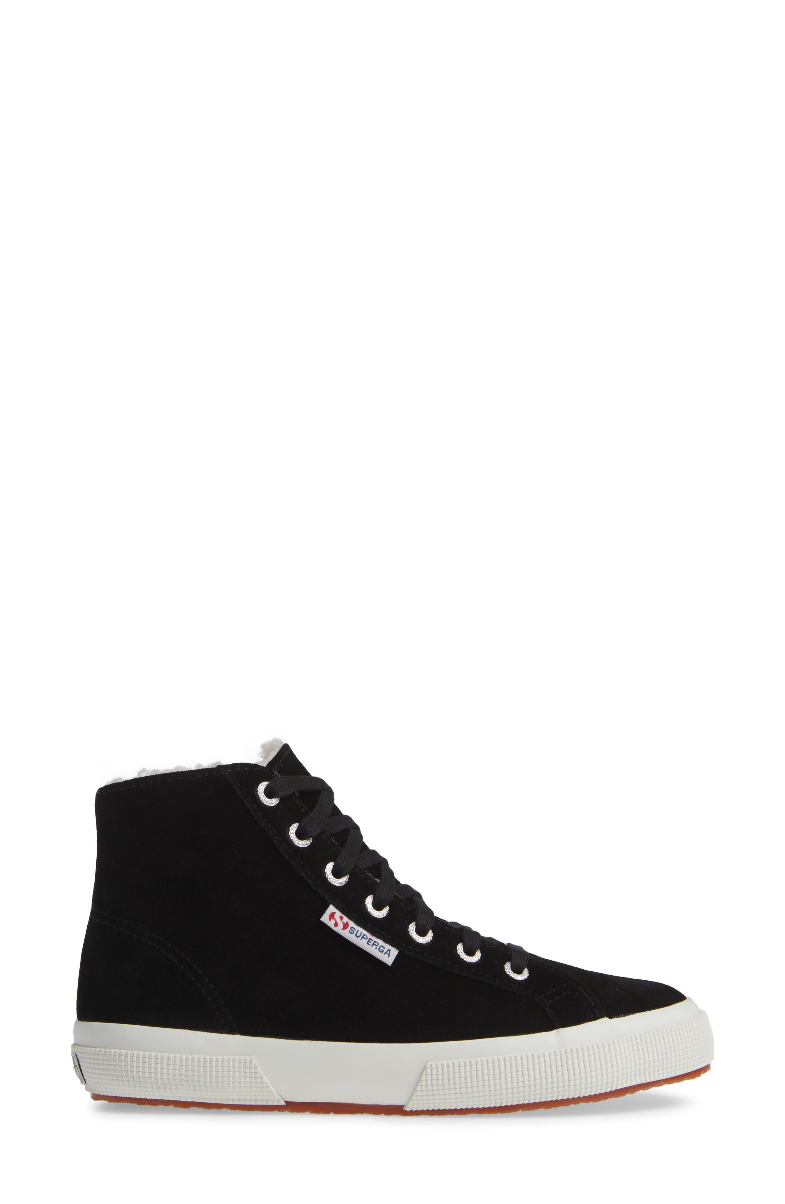 2795 Suefurw High Top Sneaker,                             Alternate thumbnail 3, color,                             BLACK SUEDE