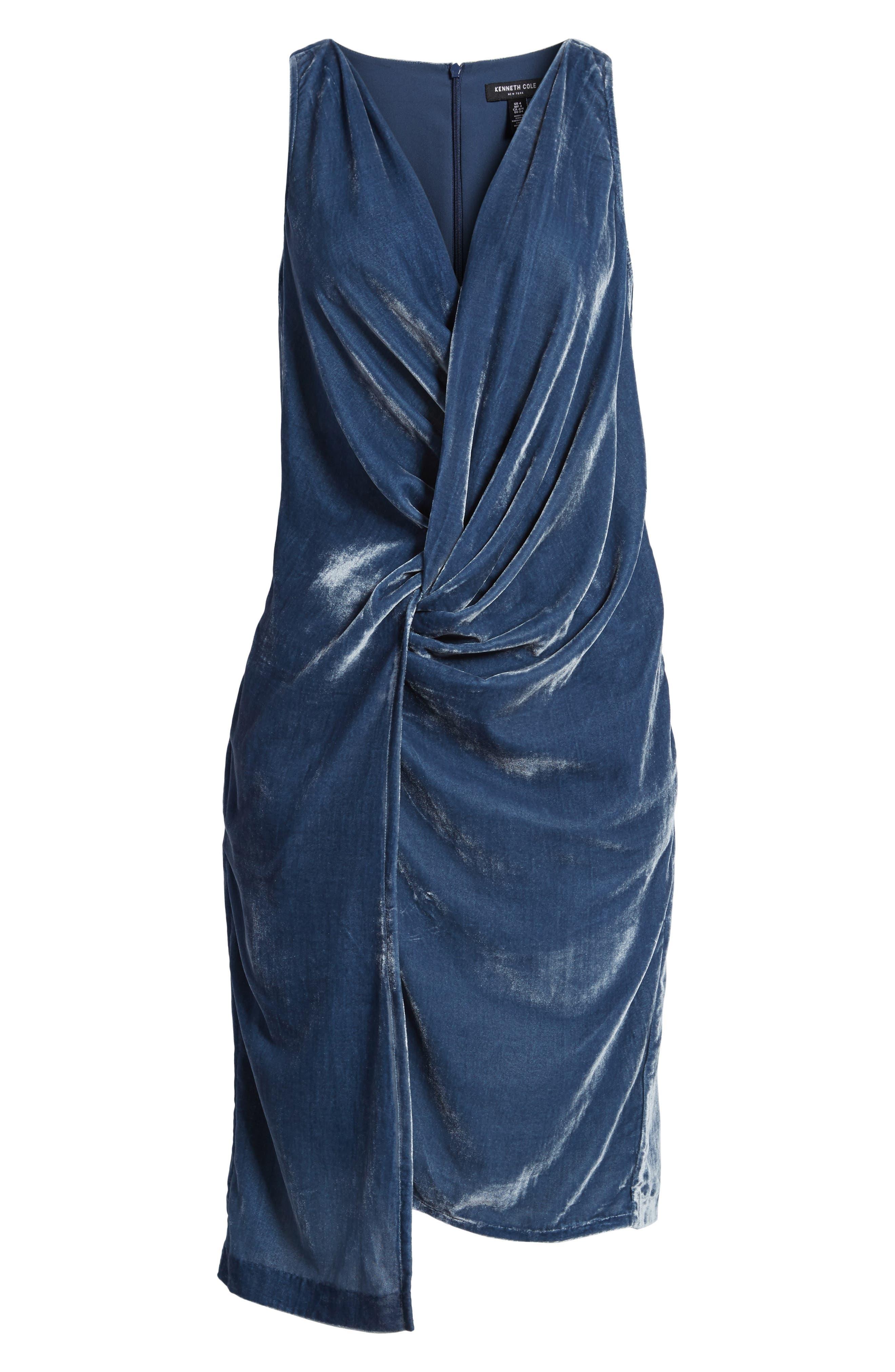 Kenneth Cole Twisted Faux Wrap Velvet Dress,                             Alternate thumbnail 6, color,