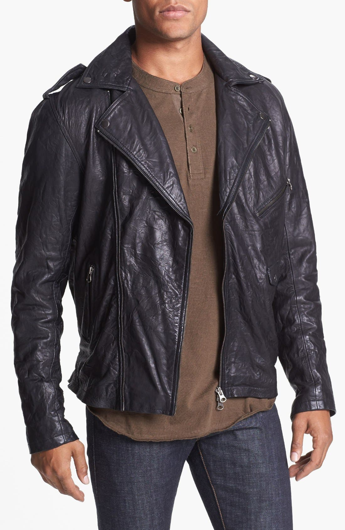 'Crosstown' Leather Biker Jacket, Main, color, 001
