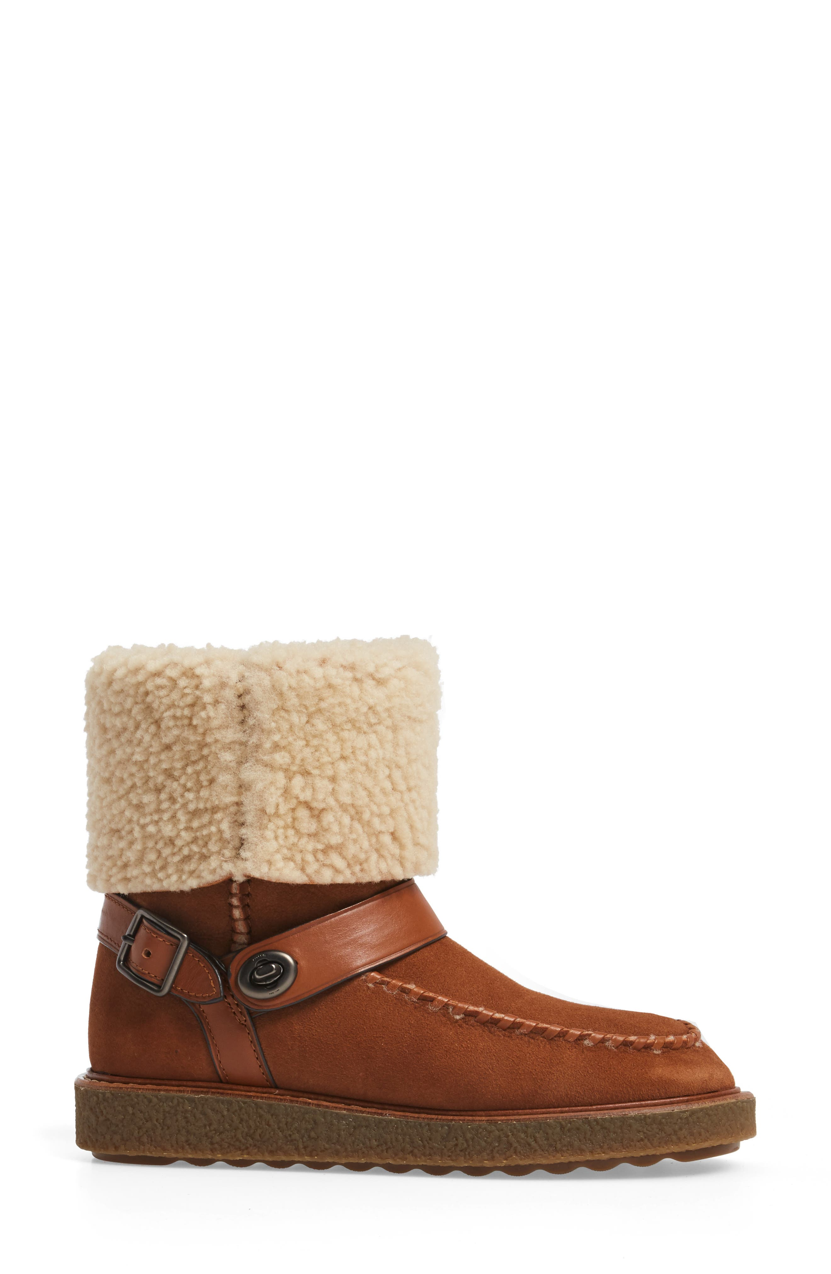 Genuine Shearling Moto Boot,                             Alternate thumbnail 8, color,