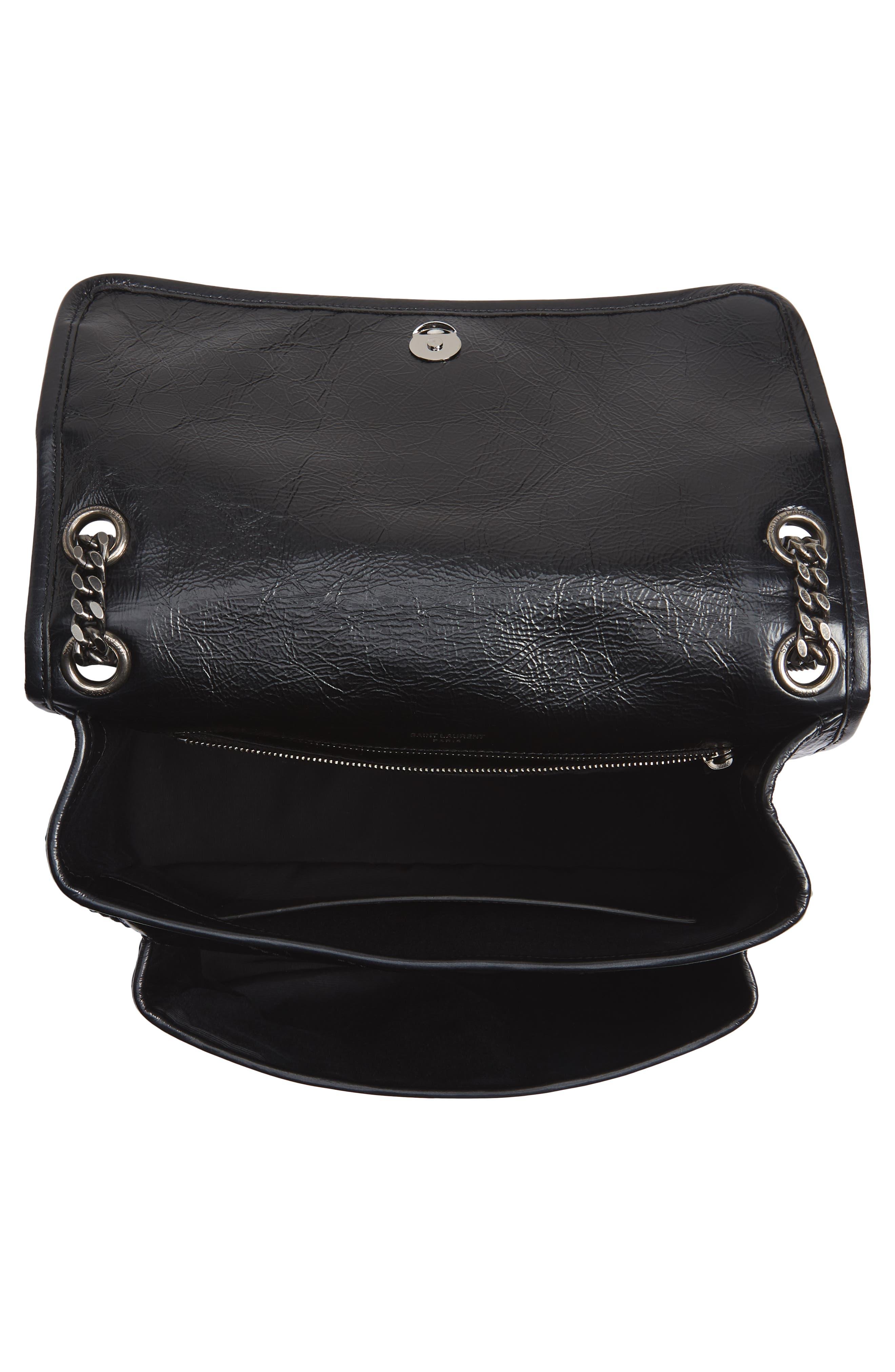 Medium Niki Leather Shoulder Bag,                             Alternate thumbnail 4, color,                             BLACK