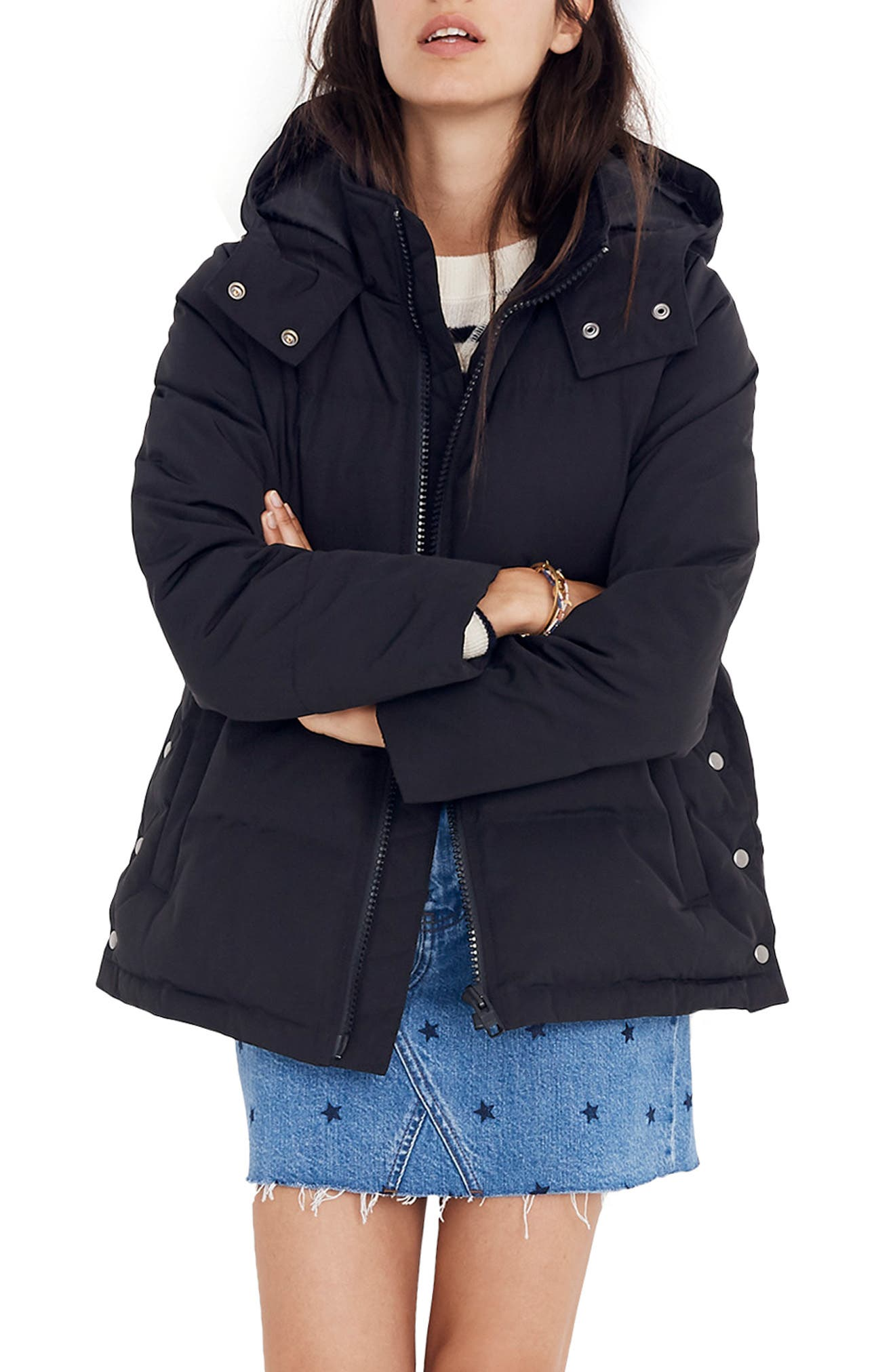 Quilted Puffer Parka,                             Main thumbnail 1, color,                             TRUE BLACK